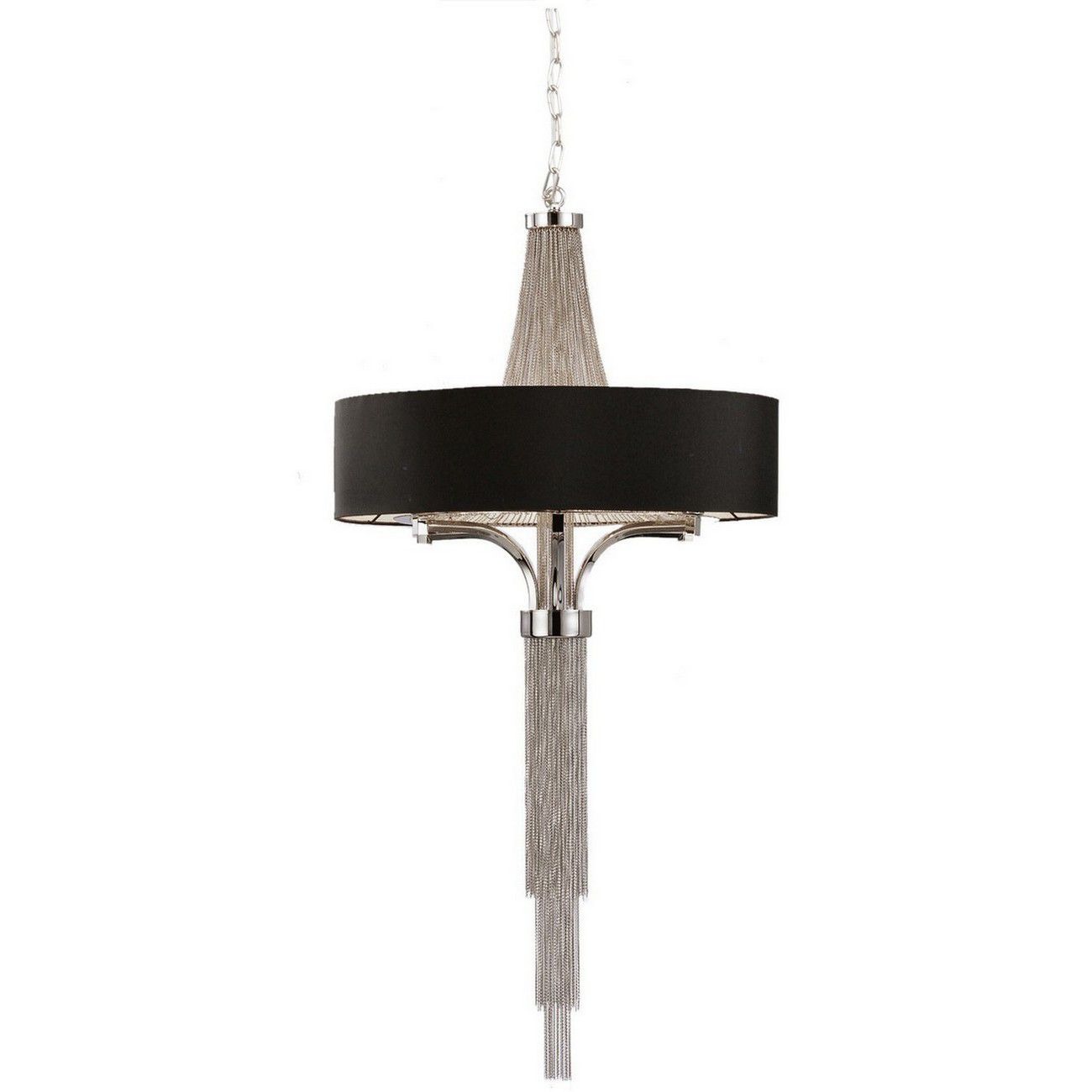 Langan Chandelier Large With Black Shade E14 40W 8 thumbnail