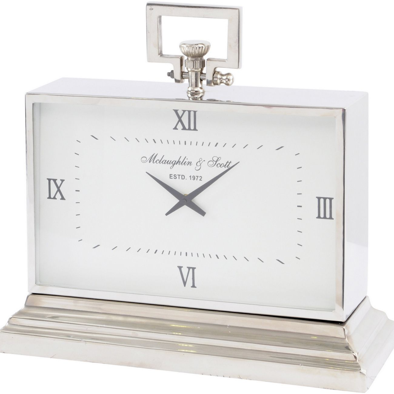 Latham Medium Aluminium Rectangular Clock With Roman Numerals thumbnail