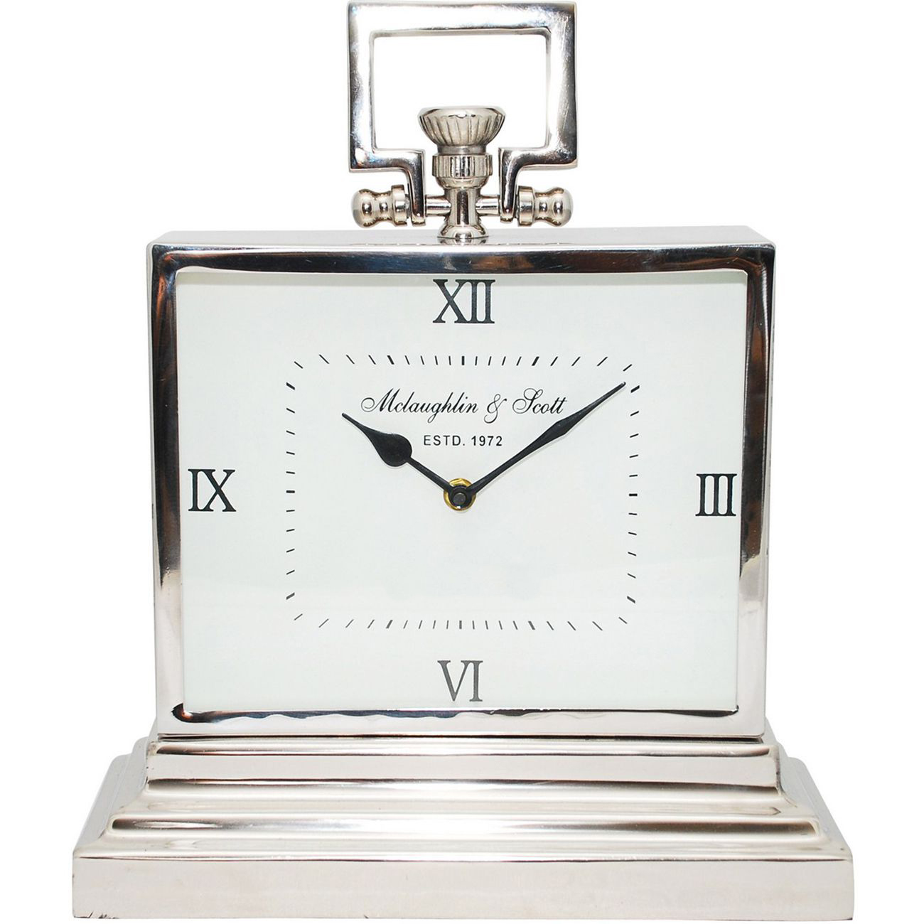 Latham Small Aluminium Rectangular Clock With Roman Numerals thumbnail