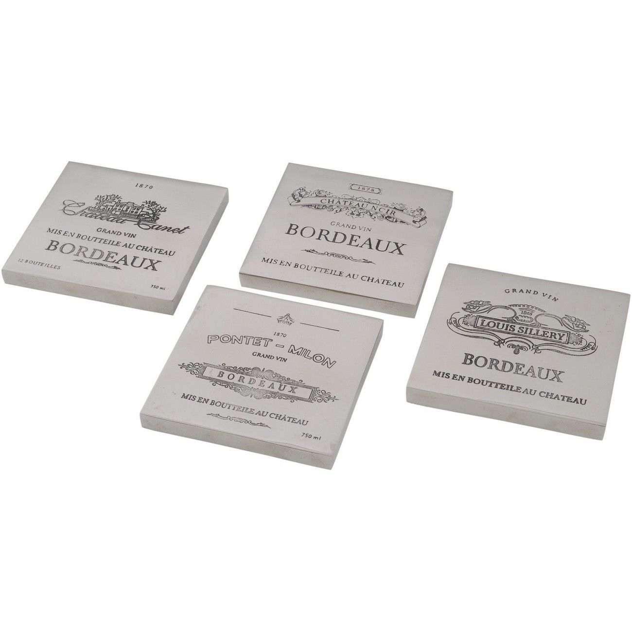 Set Of 4 Bordeaux Coasters Square Aluminium thumbnail