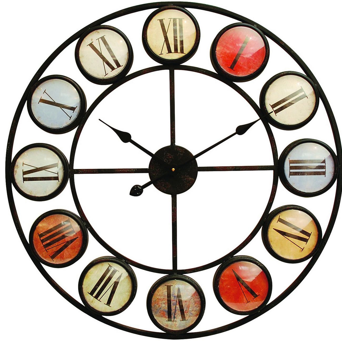 Smarty Iron Clock Roman Numerals Coloured Domed Glass thumbnail