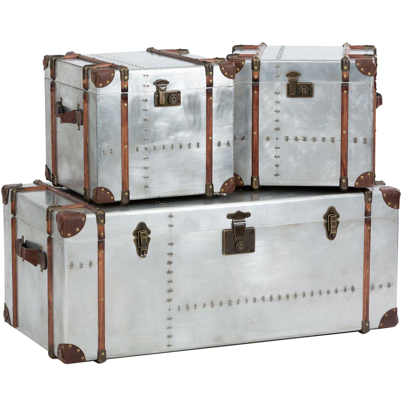 Bardem Set Of 3 Silver Trunks thumbnail