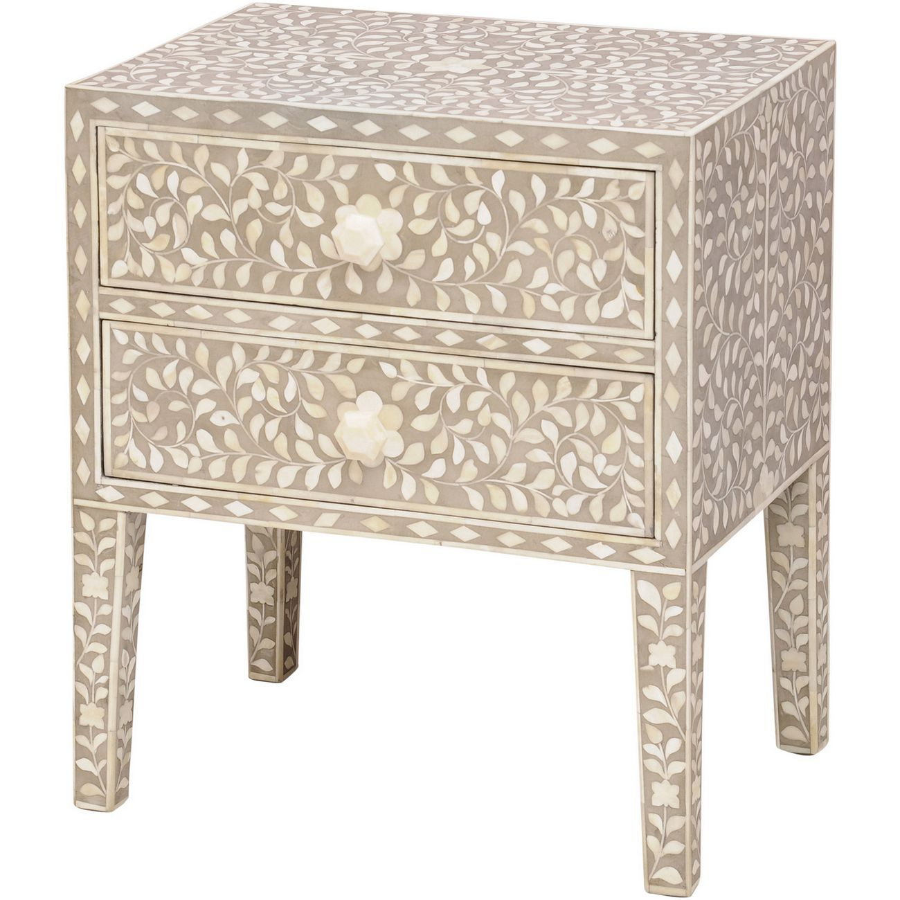 Petals Grey Bone Inlaid 2 Drawer Chest thumbnail