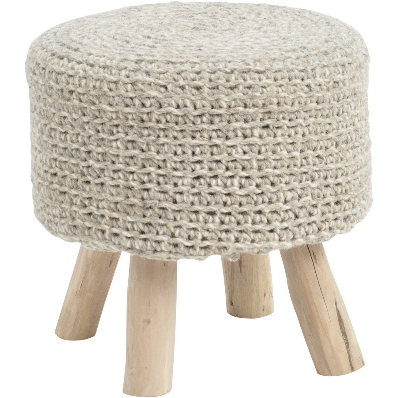 Nomad Stone Grey Knitted Stool thumbnail