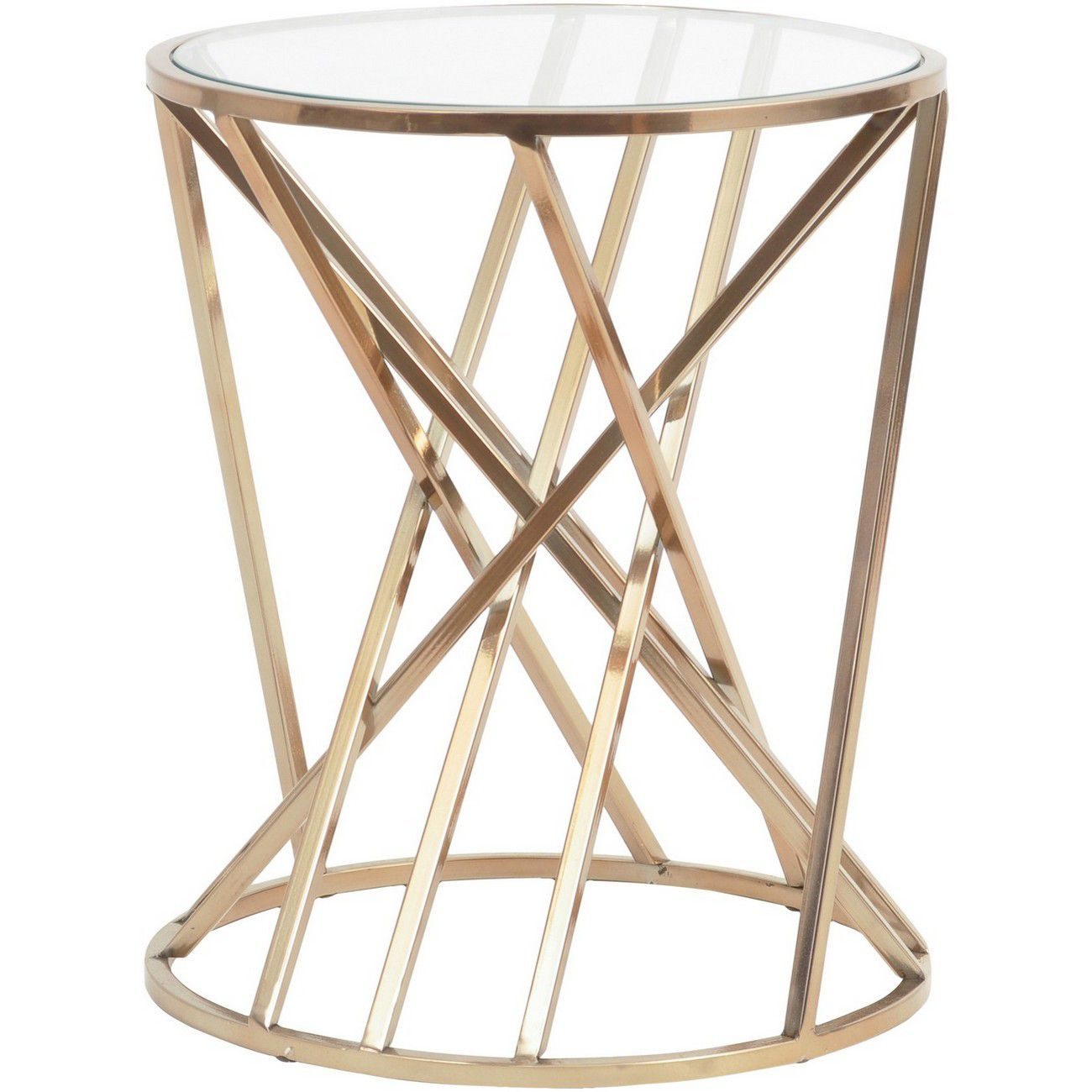 Copper Twist Round Side Table With Glass Top thumbnail