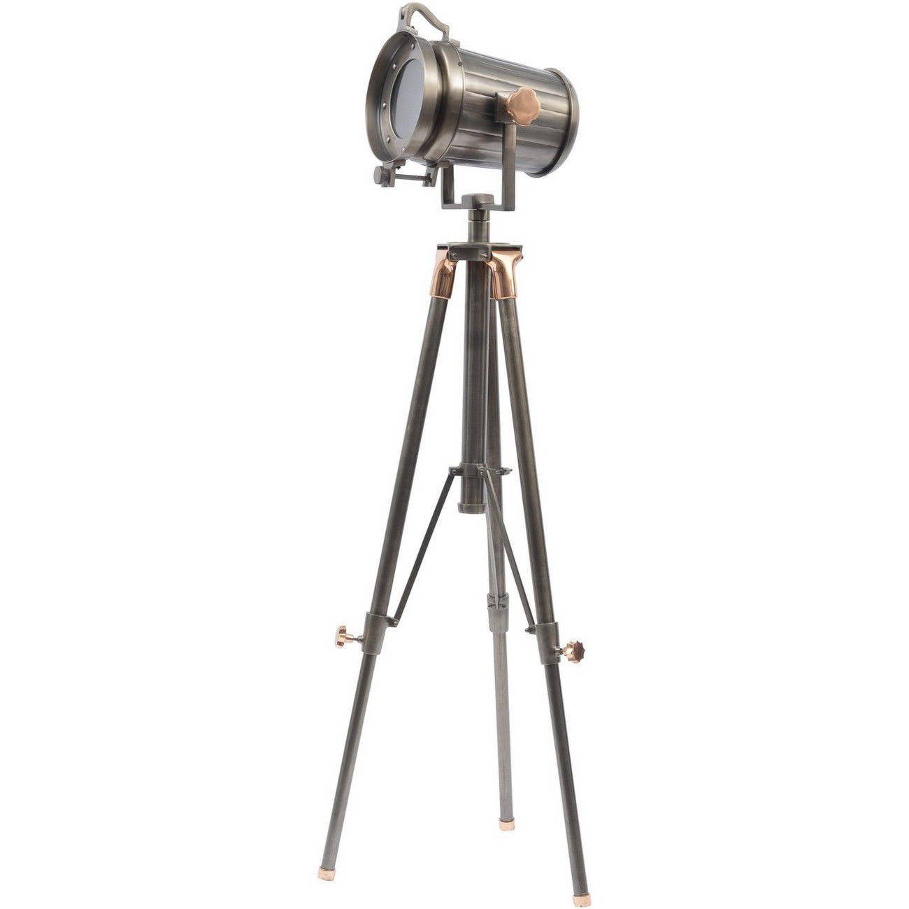 Charlie Copper And Satin Grey Tripod Floor Lamp E27 40W thumbnail