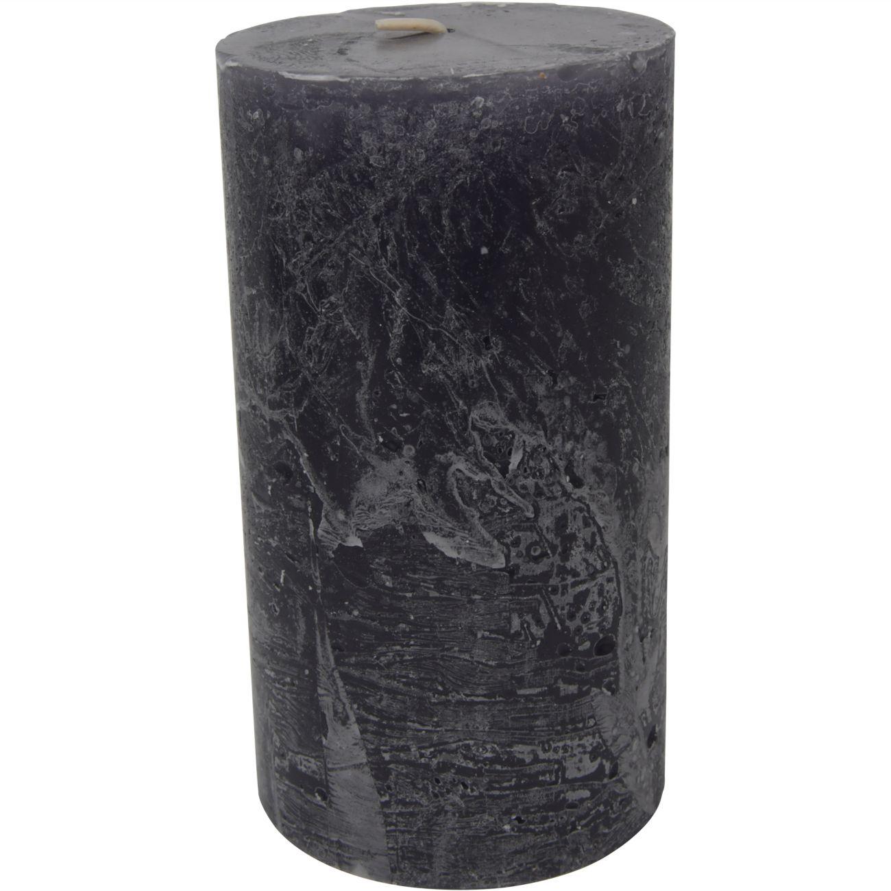 Libra Dark Grey Rustica Pillar Candle 7x12cm thumbnail