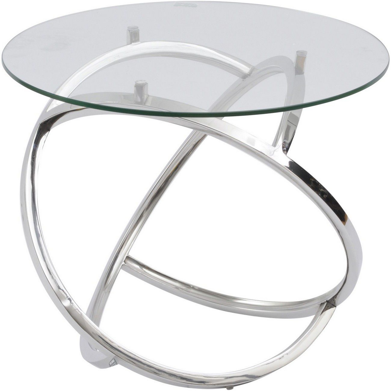 Curl Silver Side Table With Clear Glass Top thumbnail