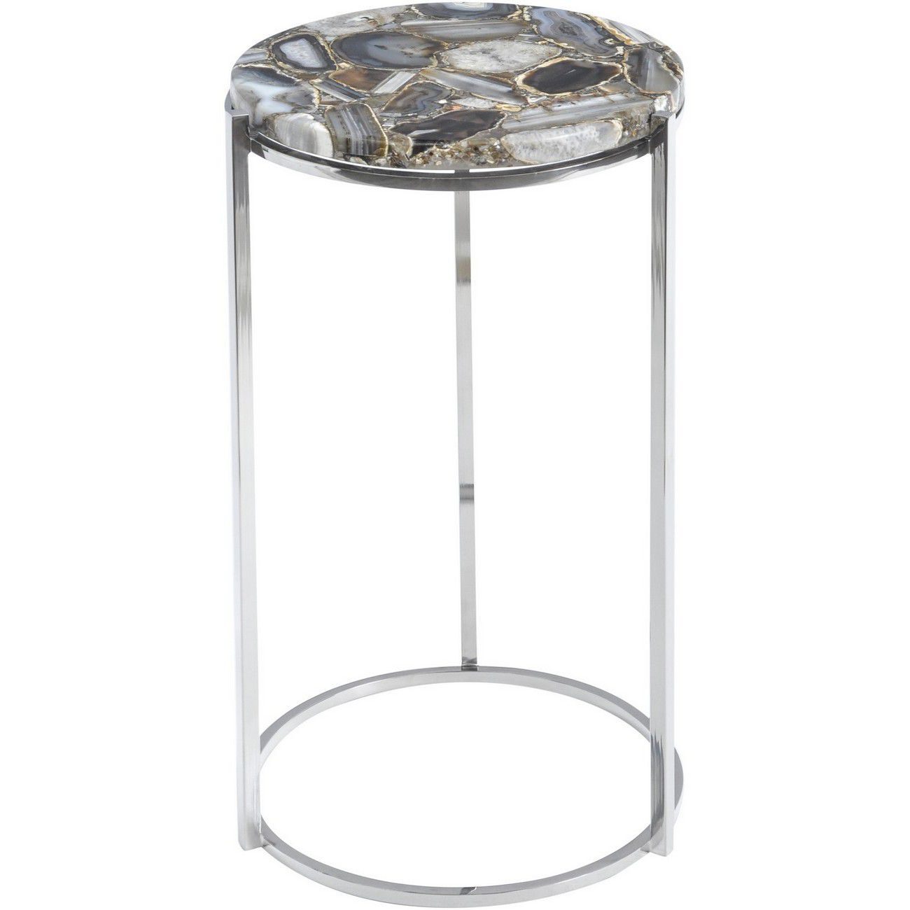 Agate Round Side Table on Nickel Frame thumbnail