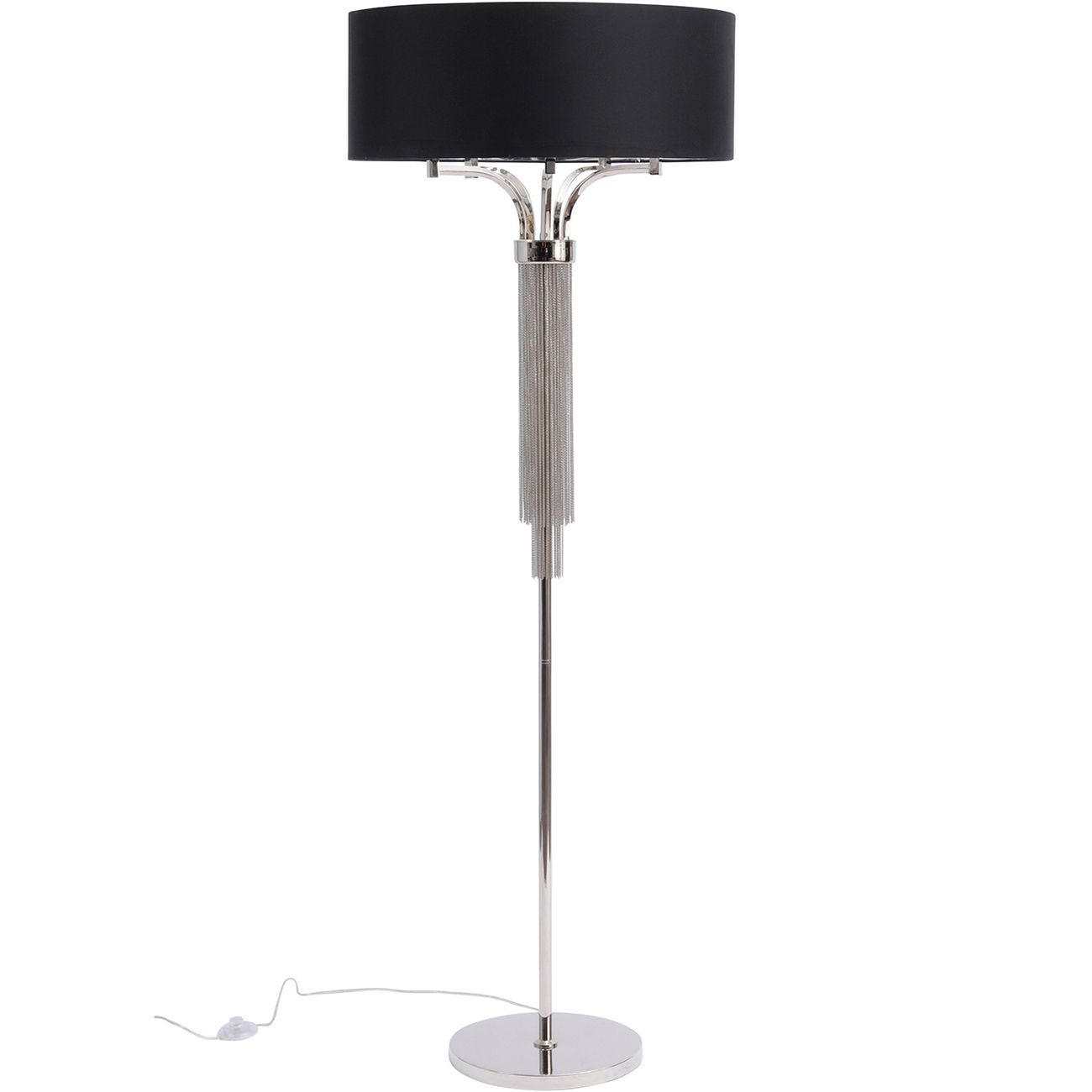 Langan Floor Lamp In Nickel With Black Shade E14 40W thumbnail