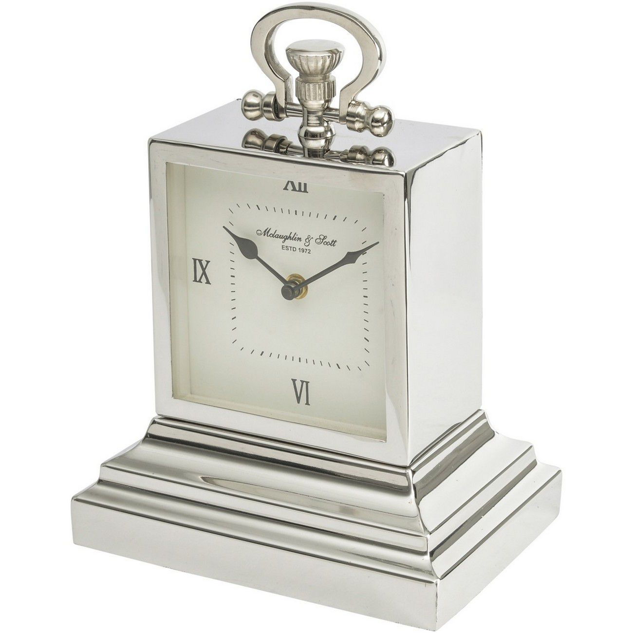 Latham Extra Small Aluminium Rectangular Clock with Roman Numerals thumbnail