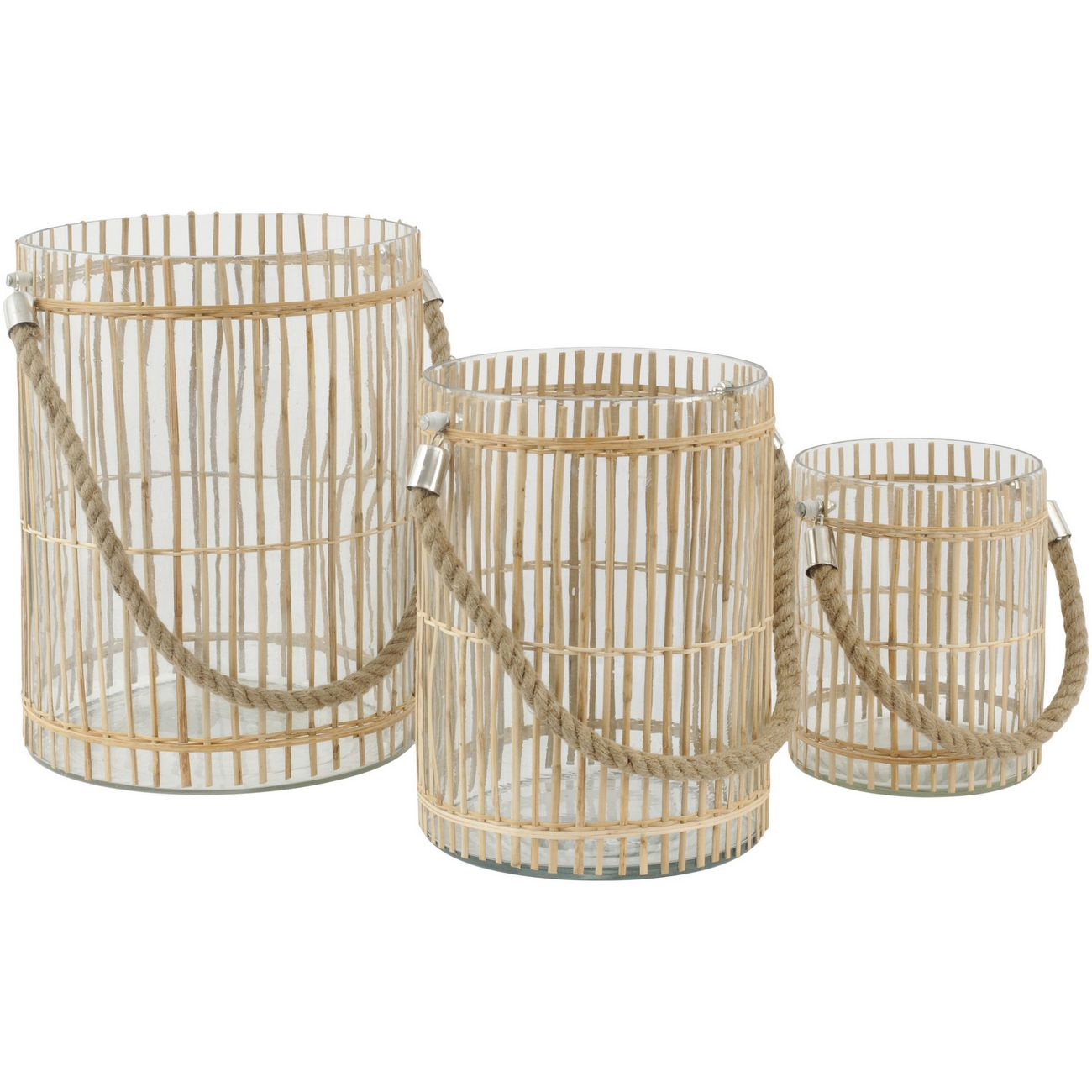 Set Of 3 Glass Drum Hurricanes With Vertical Bamboo Strip Detail thumbnail