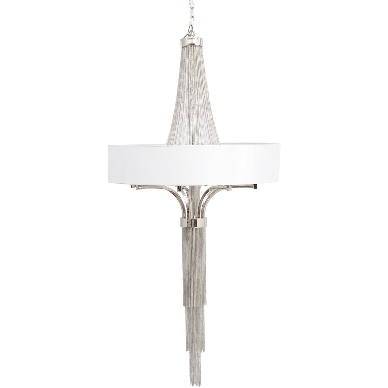 Langan Chandelier Large White Shade And Silver Chains E14 40W 8 thumbnail