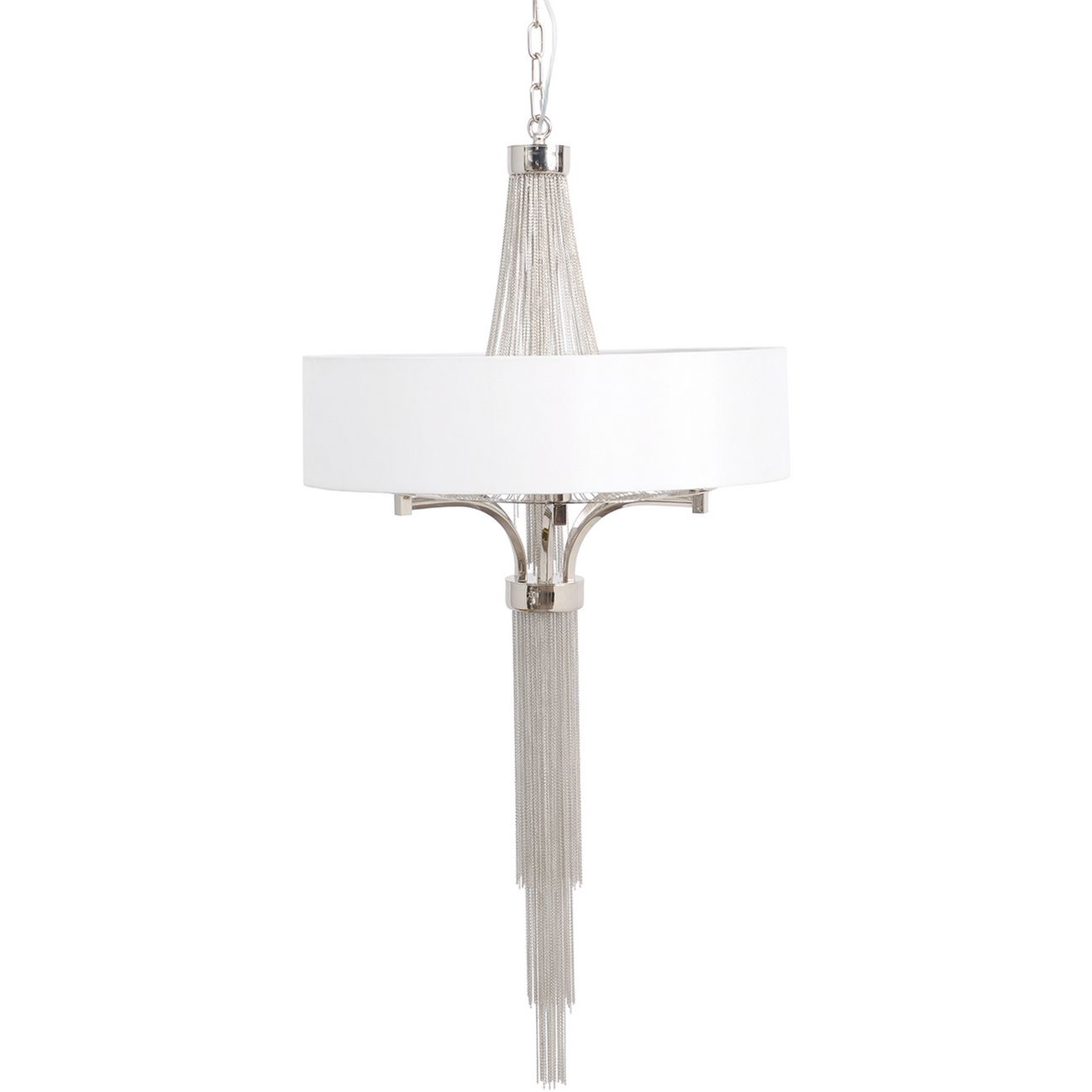 Langan Chandelier Small White Shade And Silver Chains E14 40W 5 thumbnail