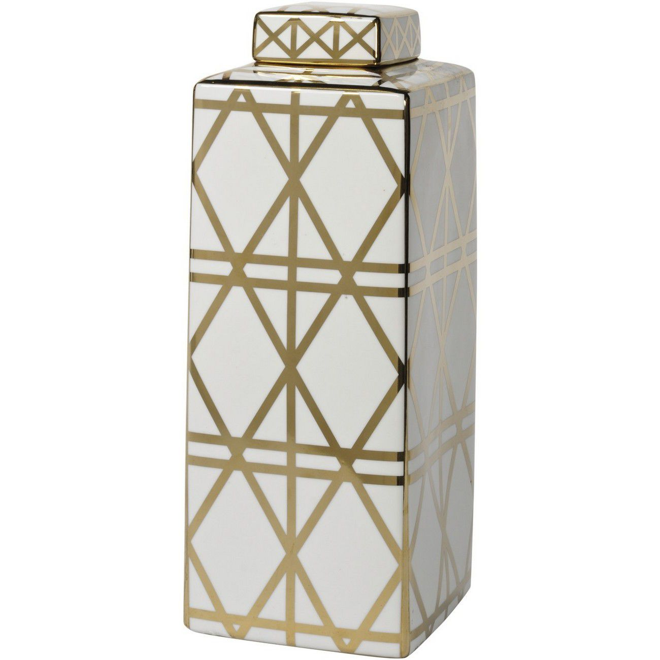 Gold And White Linear Print Ceramic Jar thumbnail