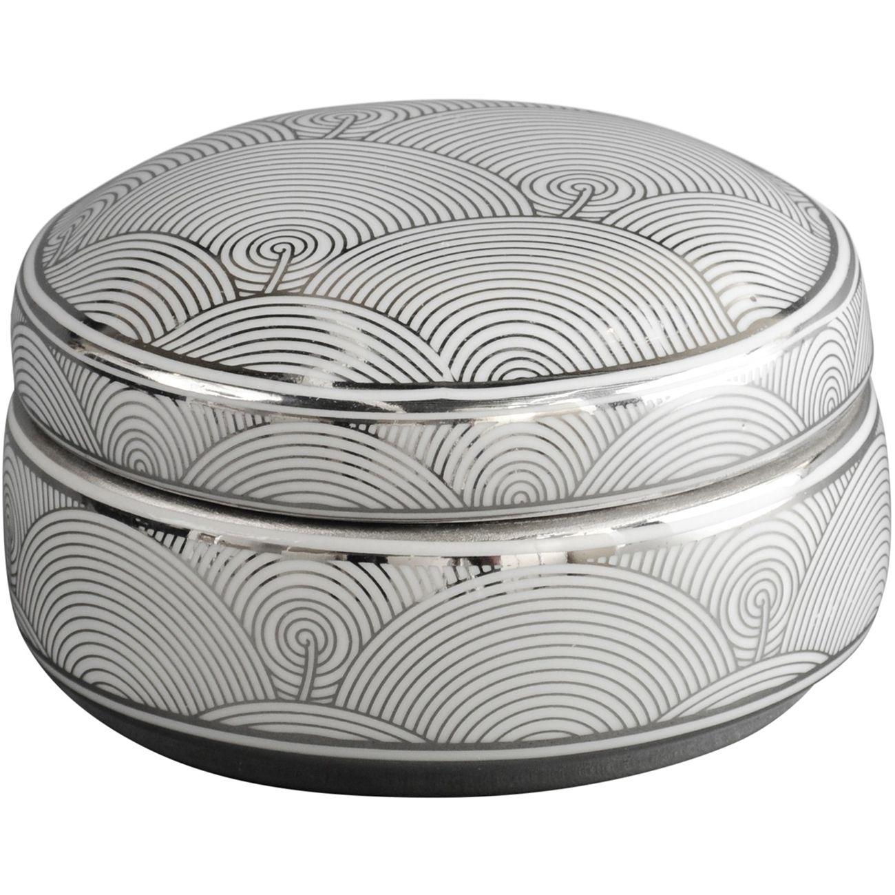 Silver And White Fan Deco Ceramic Trinket Box thumbnail