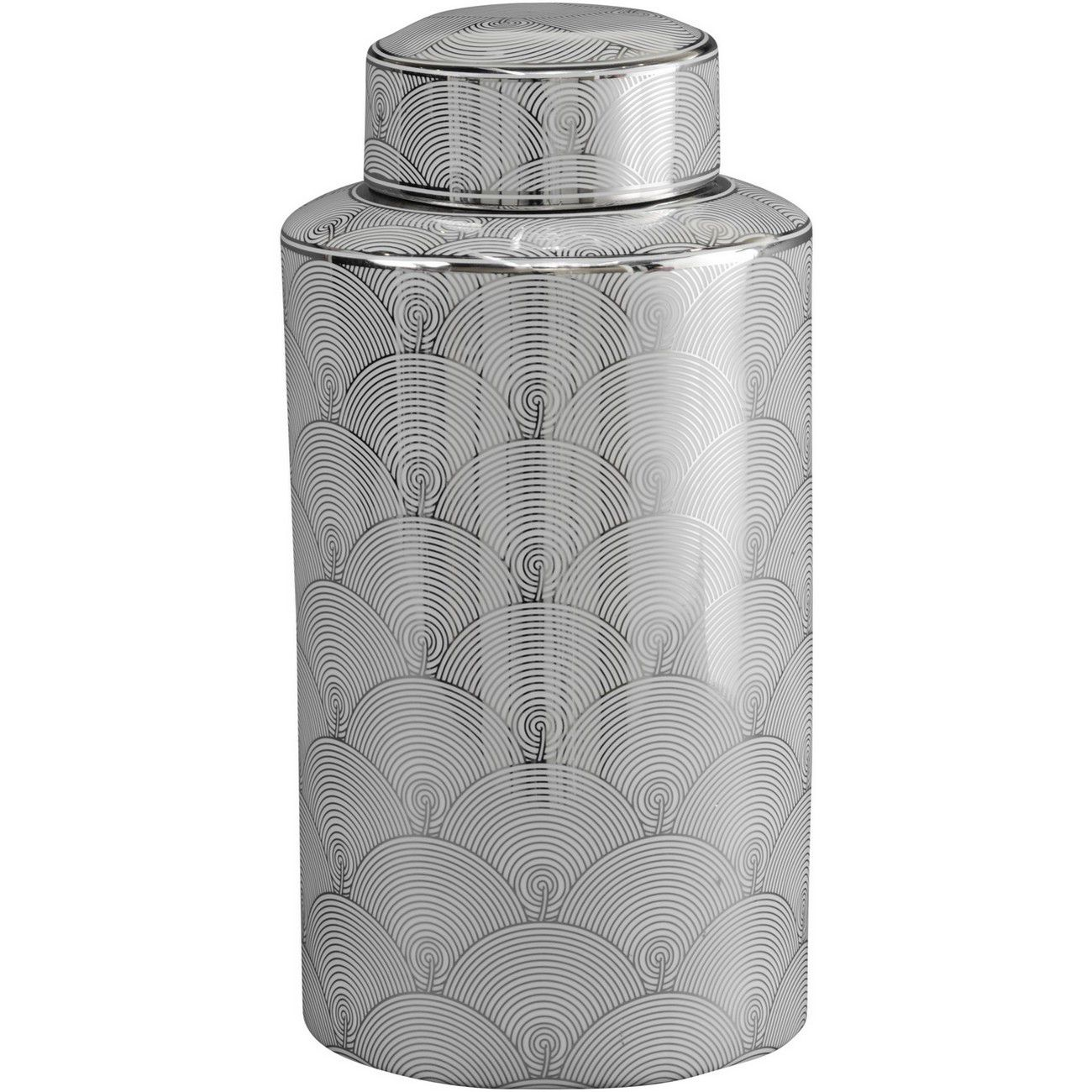 Large Silver And White Fan Deco Ceramic Jar thumbnail