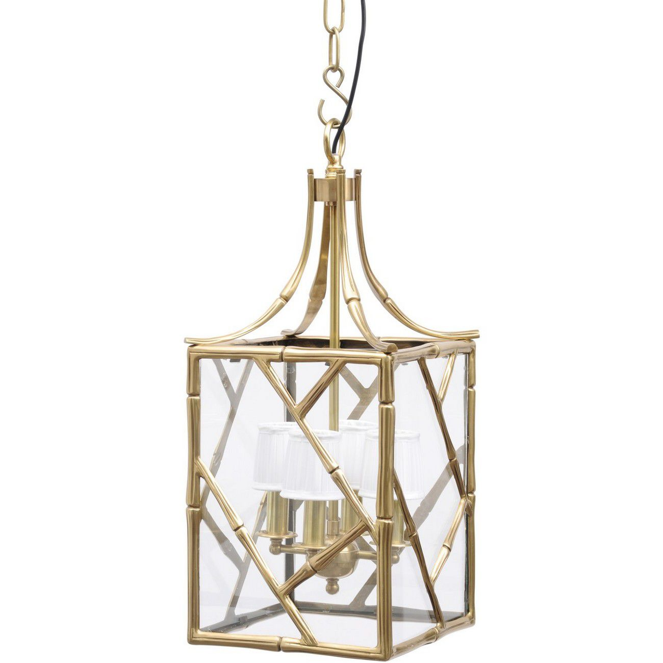 Brass Bamboo Lantern Small With White Shade E14 40W thumbnail