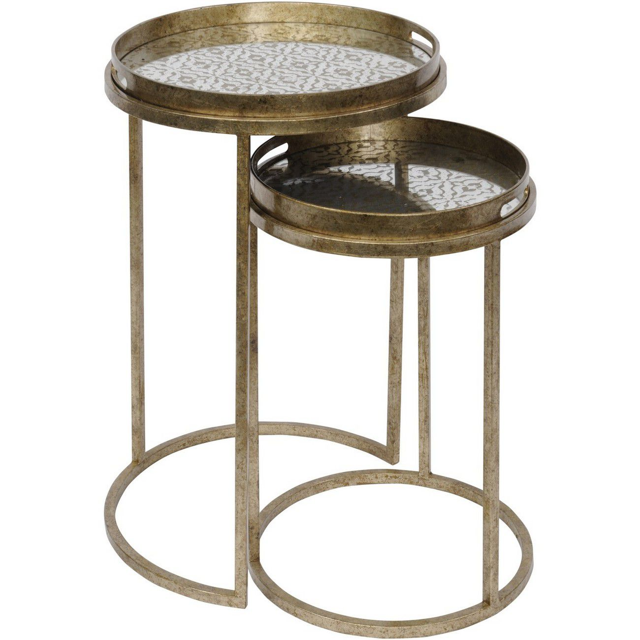 Vienna Antique Gold Diamond Set Of 2 Side Tables thumbnail