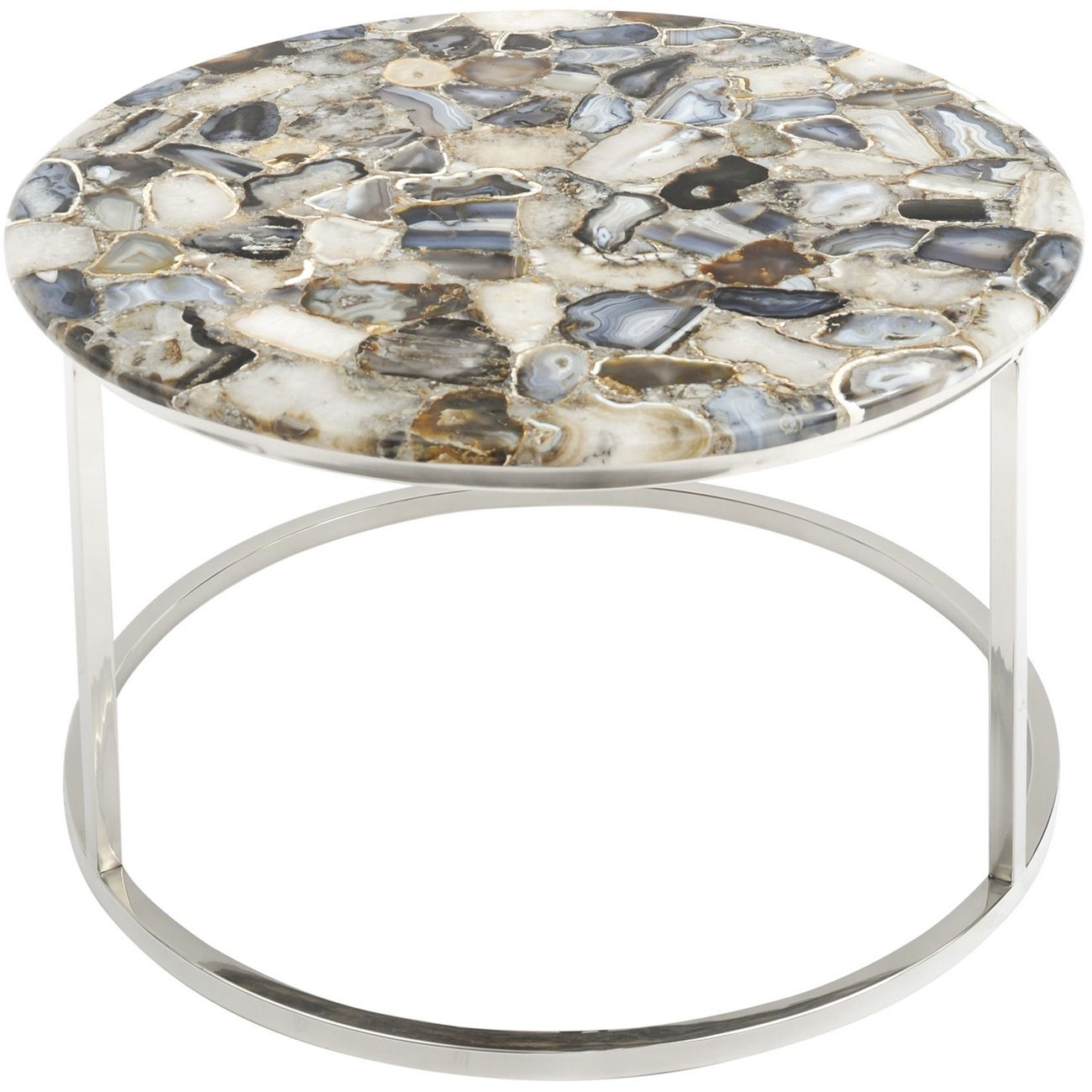 Agate Round Coffee Table On Nickel Frame thumbnail
