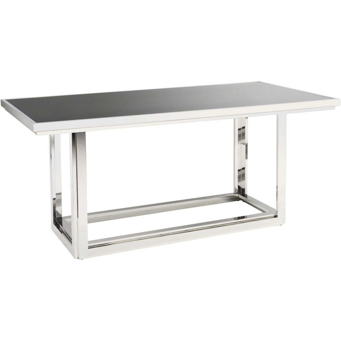 Gatsby Rectangular Stainless Steel Dining Table With Smoked Glass thumbnail