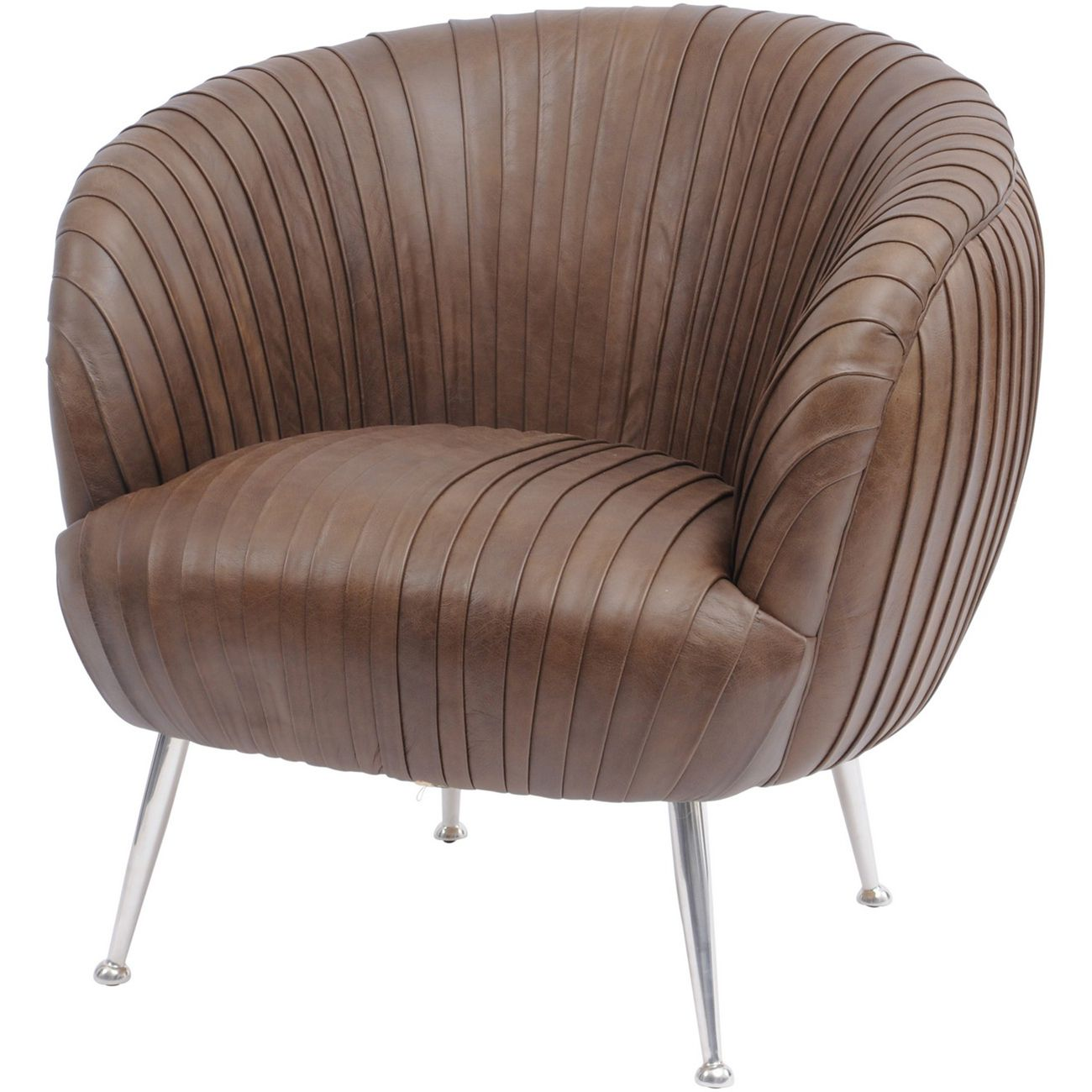 Gatsby Pleated Brown Leather Occasional Chair thumbnail