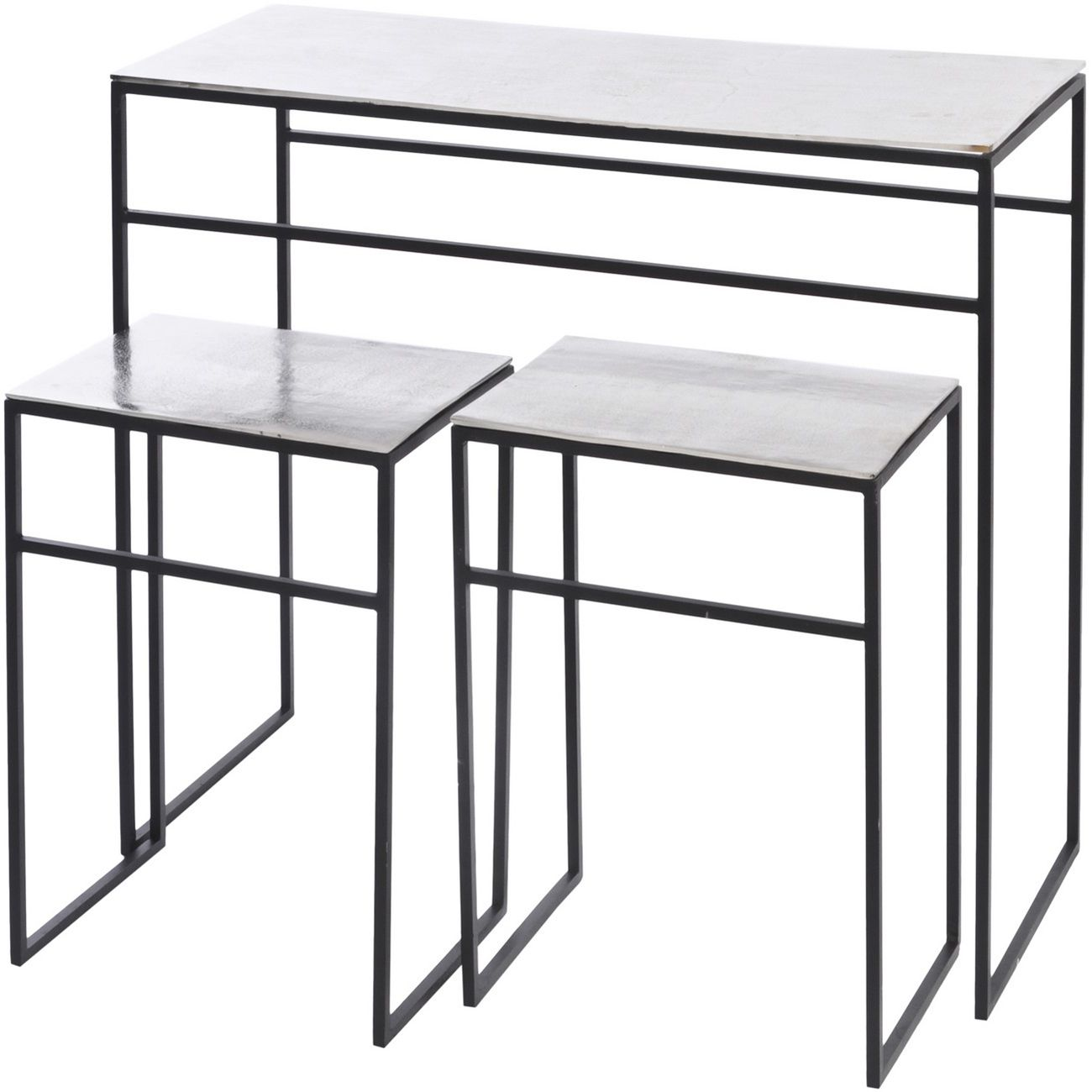 Silver Elements Console Table With Nesting Side Tables thumbnail