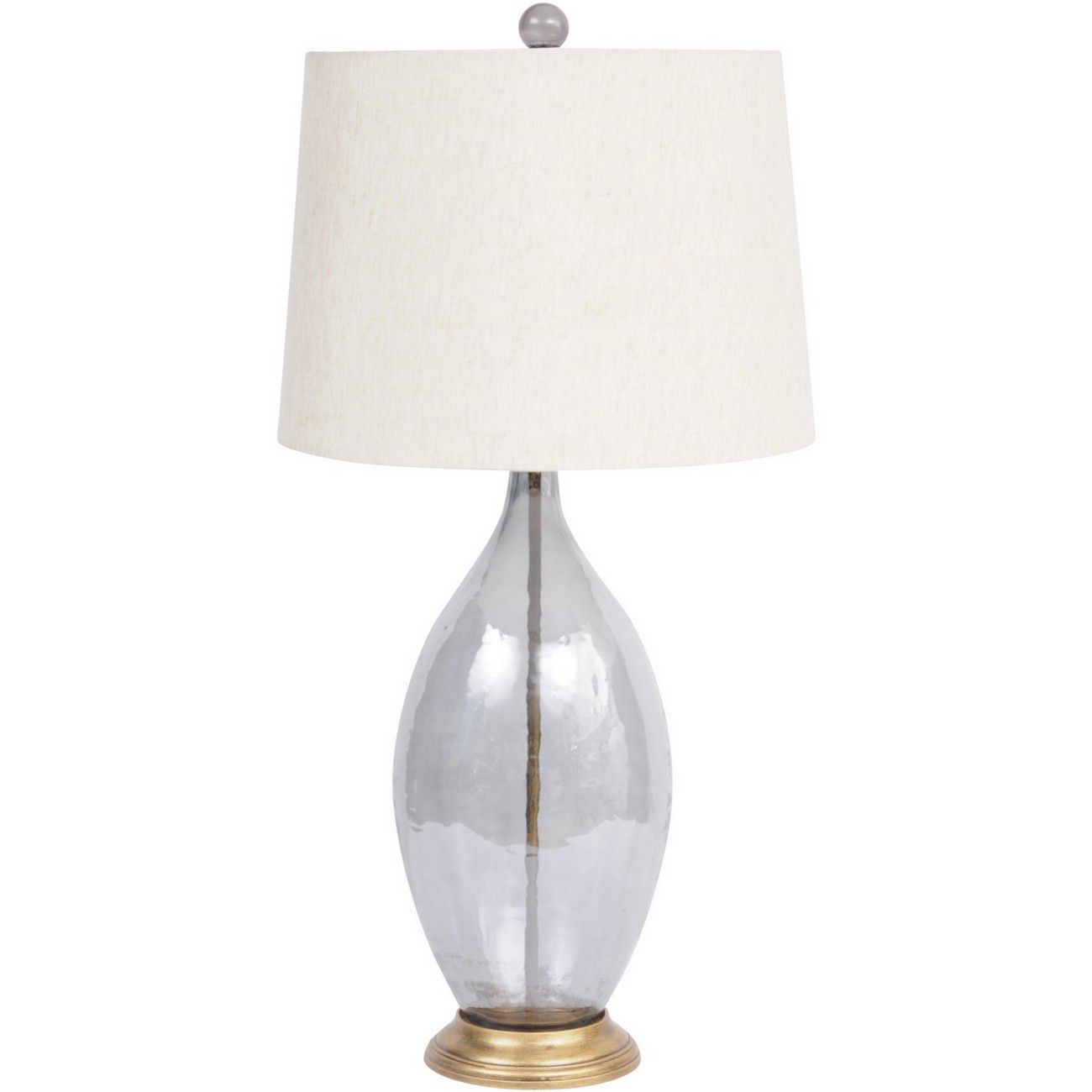 Smoke Grey Lustre Oval Glass Table Lamp With Natural Shade E27 60W thumbnail