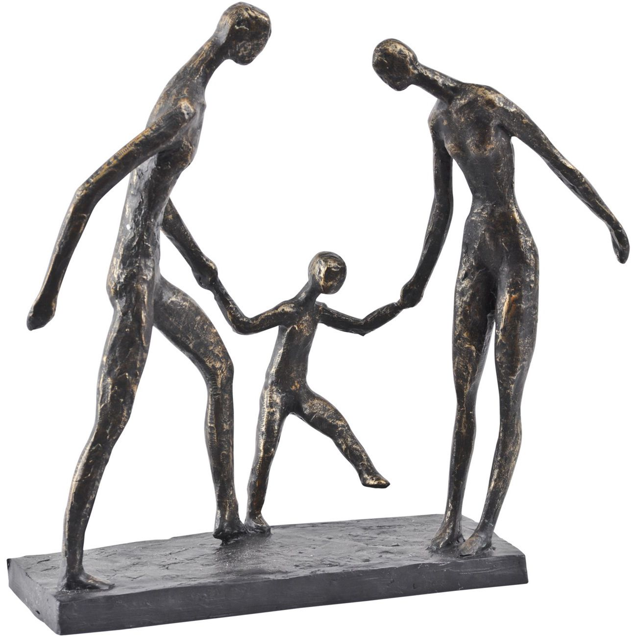 Antique Bronze Family Of Three Holding Hands Sculpture thumbnail