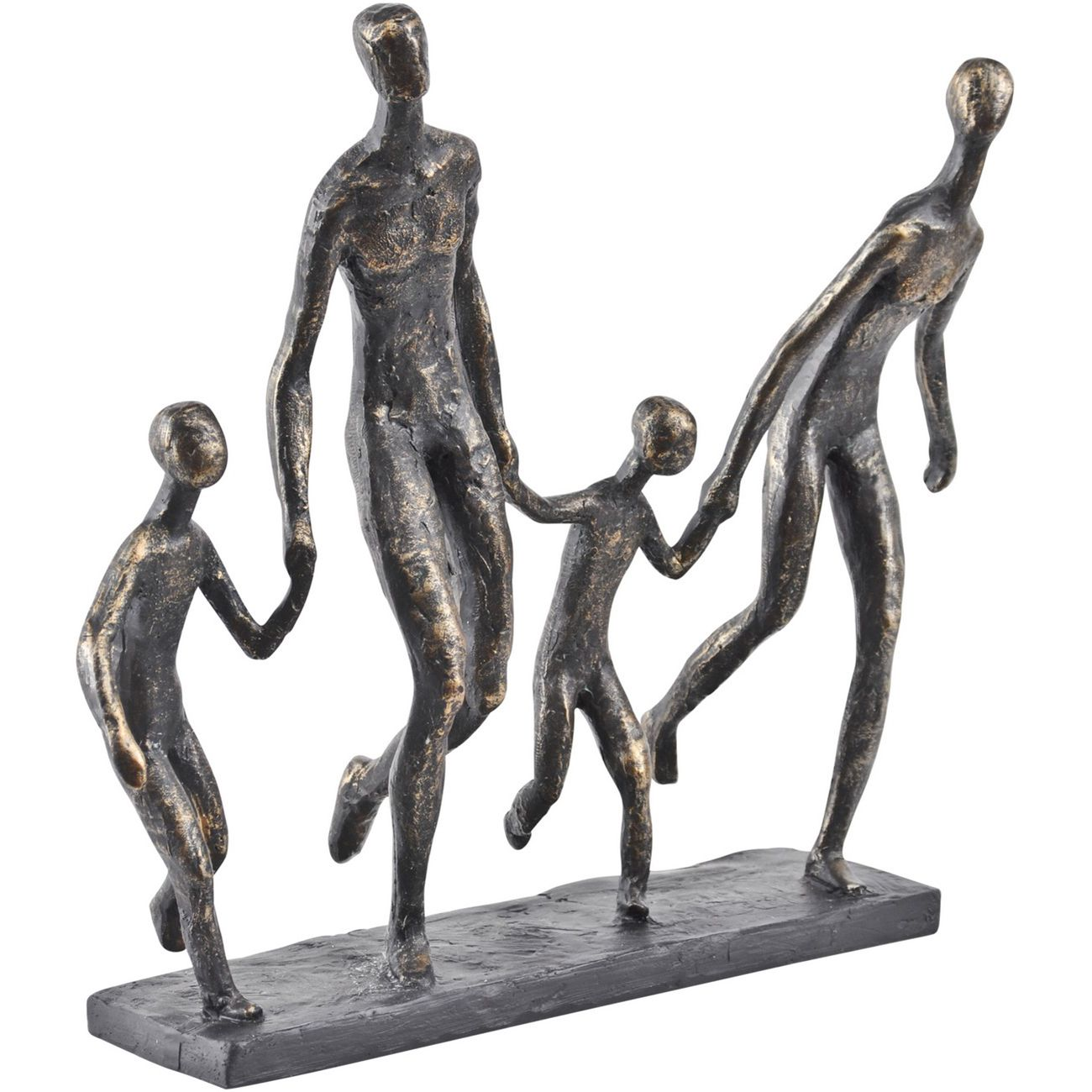 Antique Bronze Family Of Four Holding Hands Sculpture thumbnail