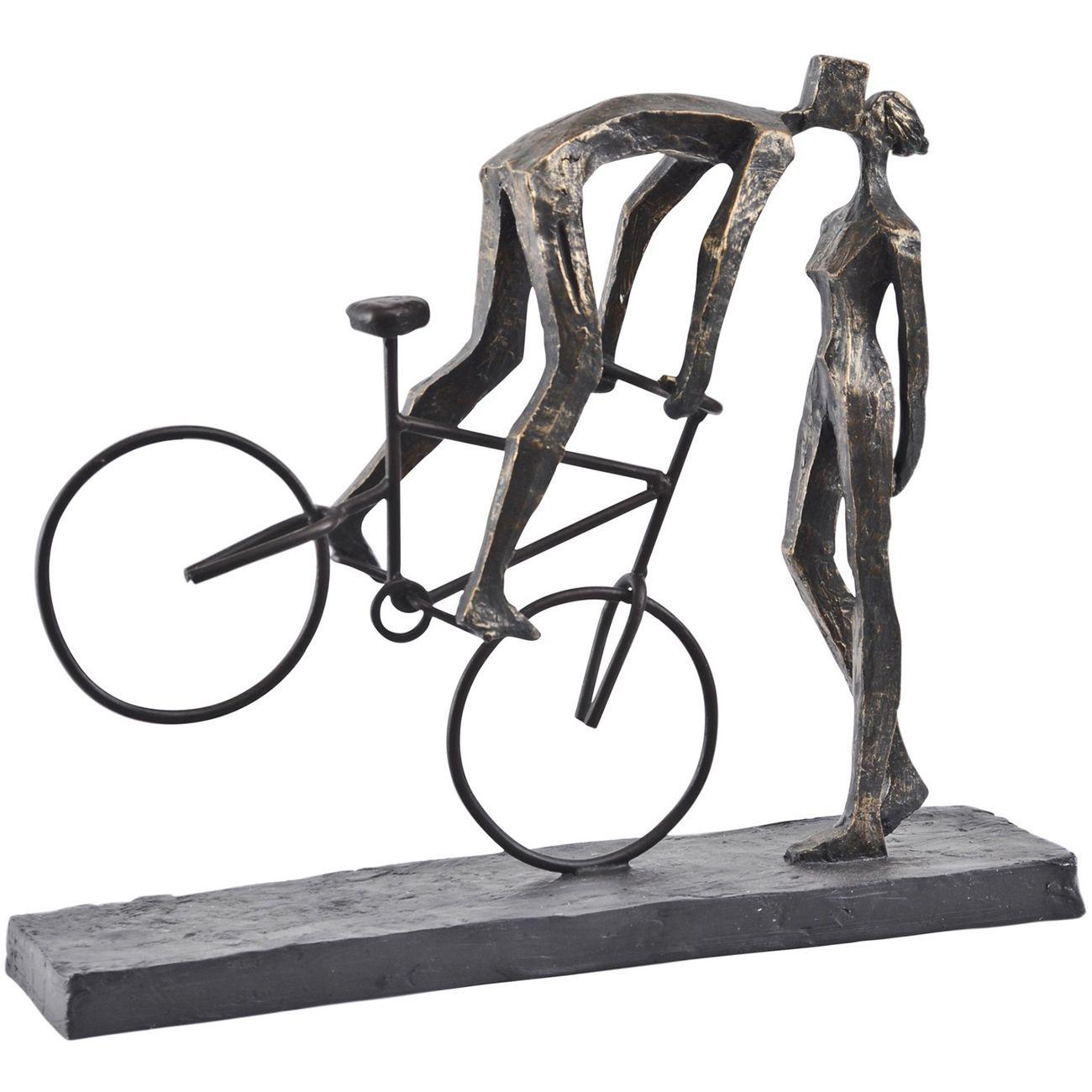 Antique Bronze Kissing Couple On Bike Sculpture thumbnail