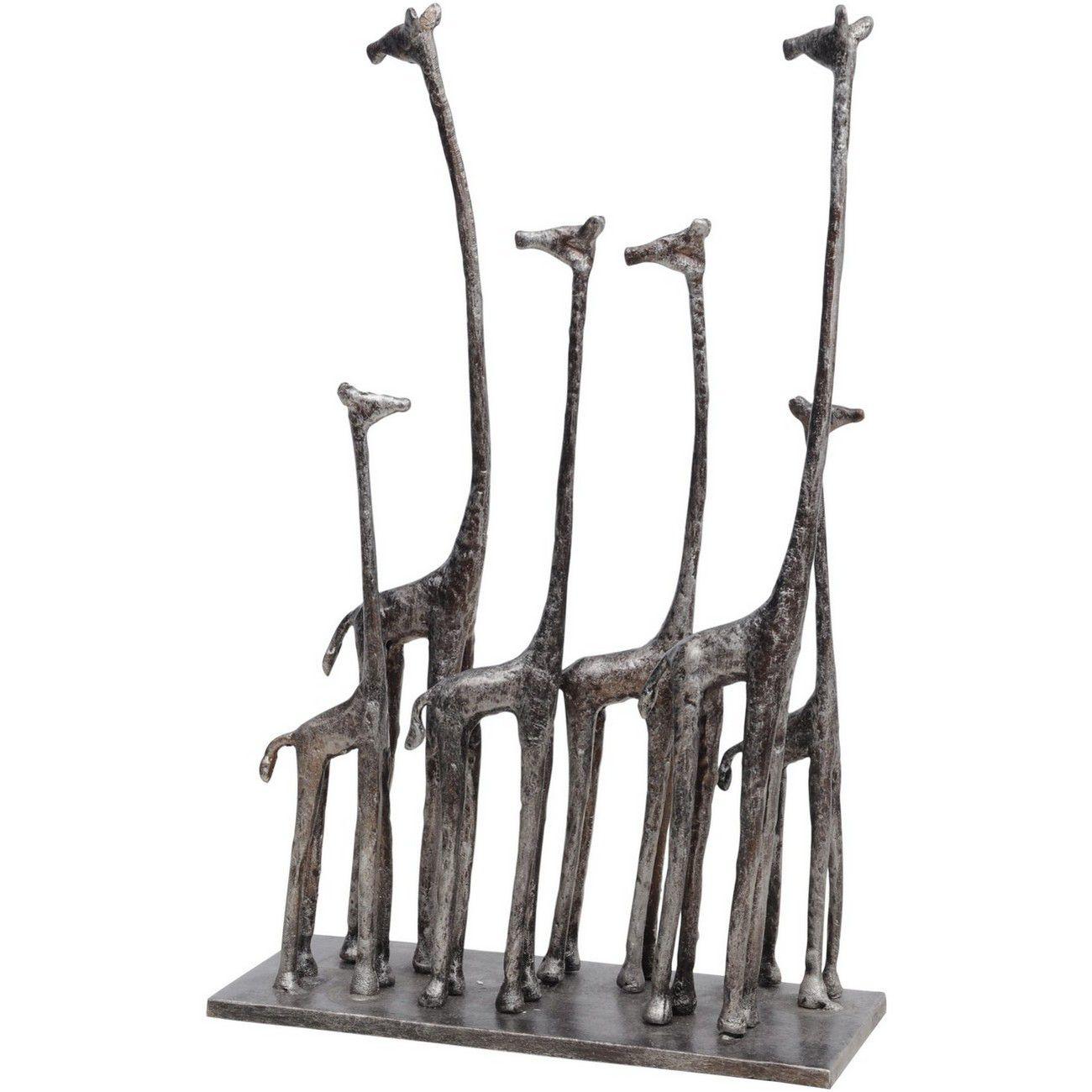 Six Giraffes Sculpture in Antique Silver Finish thumbnail