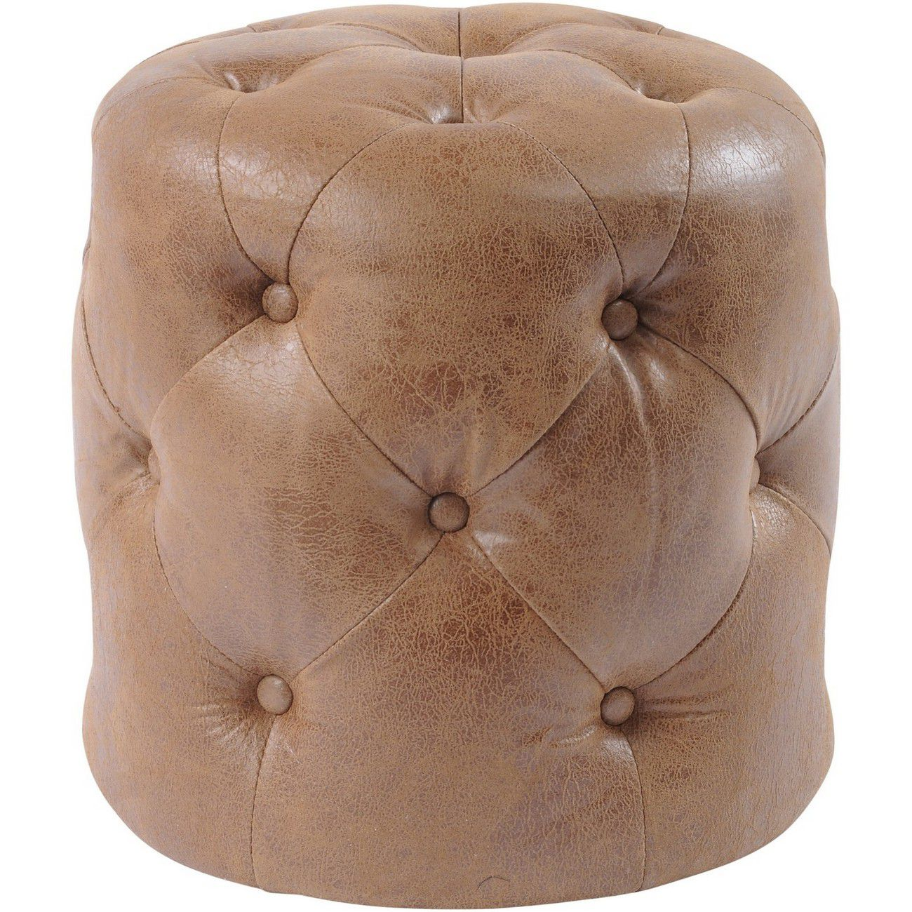 Homestead Antique Tan Top Grain Leather Button Stool thumbnail