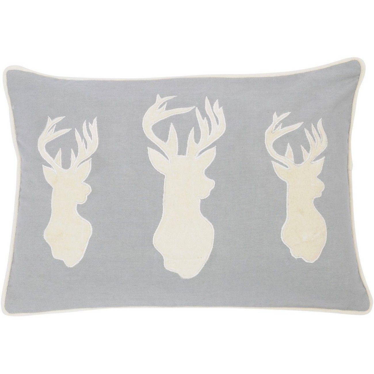 Three Stag Cushion in Grey 50x30cm thumbnail