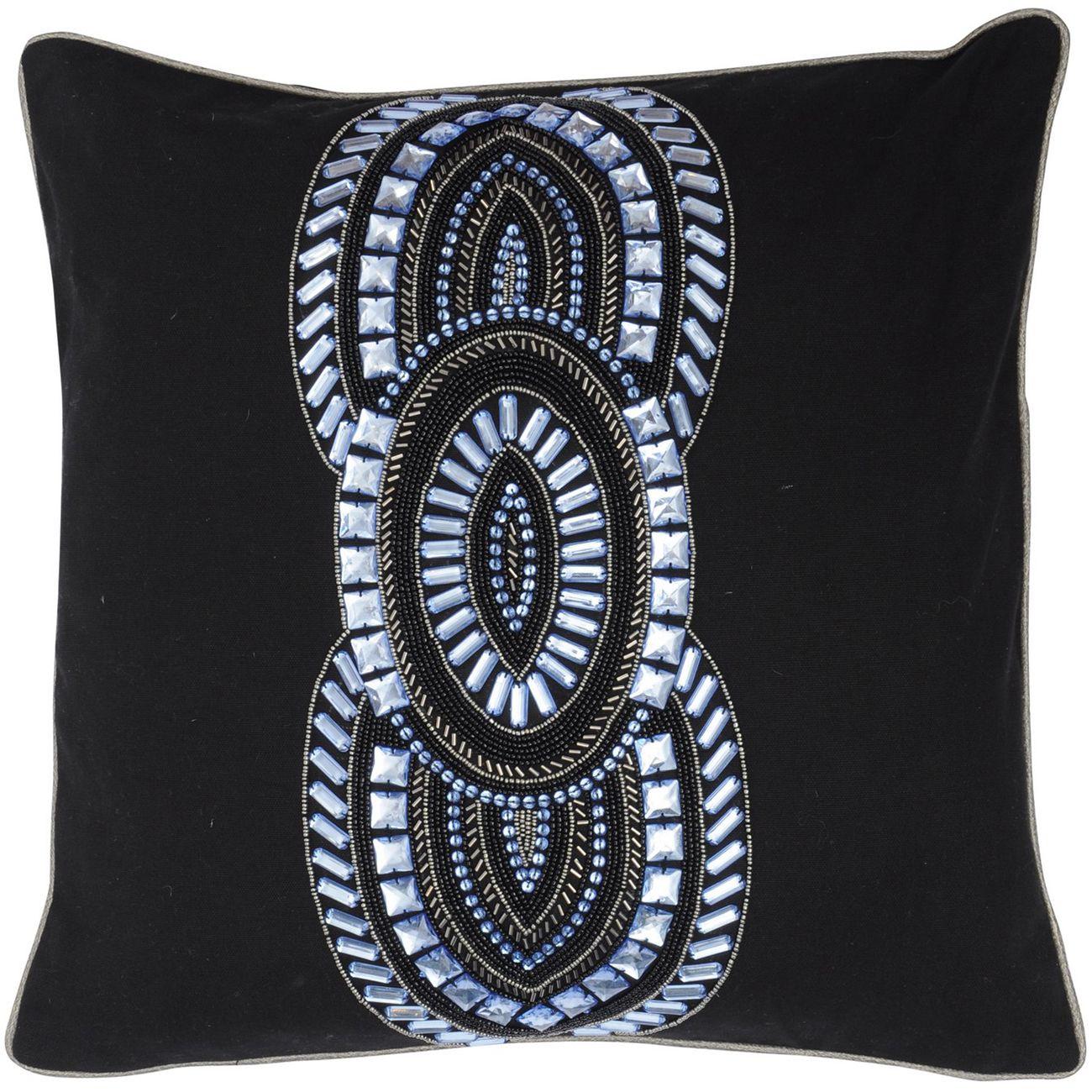Halcyon Black And Blue Square Cushion 45x45cm thumbnail