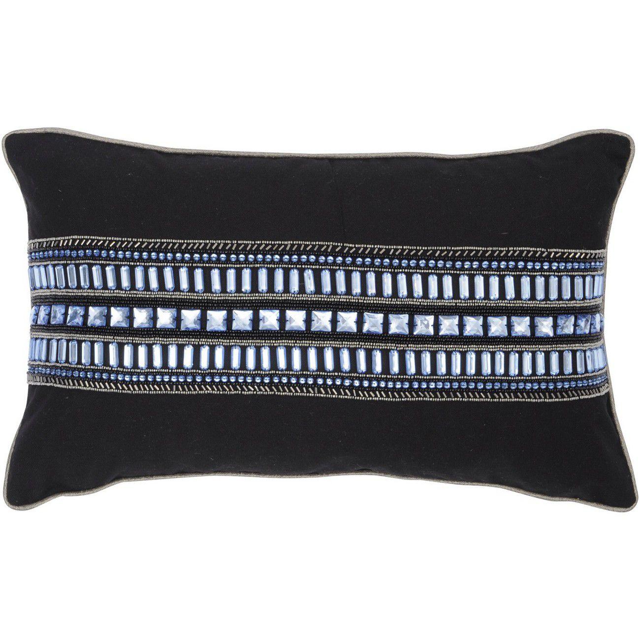 Halcyon Black And Blue Rectangular Cushion 50x30cm thumbnail