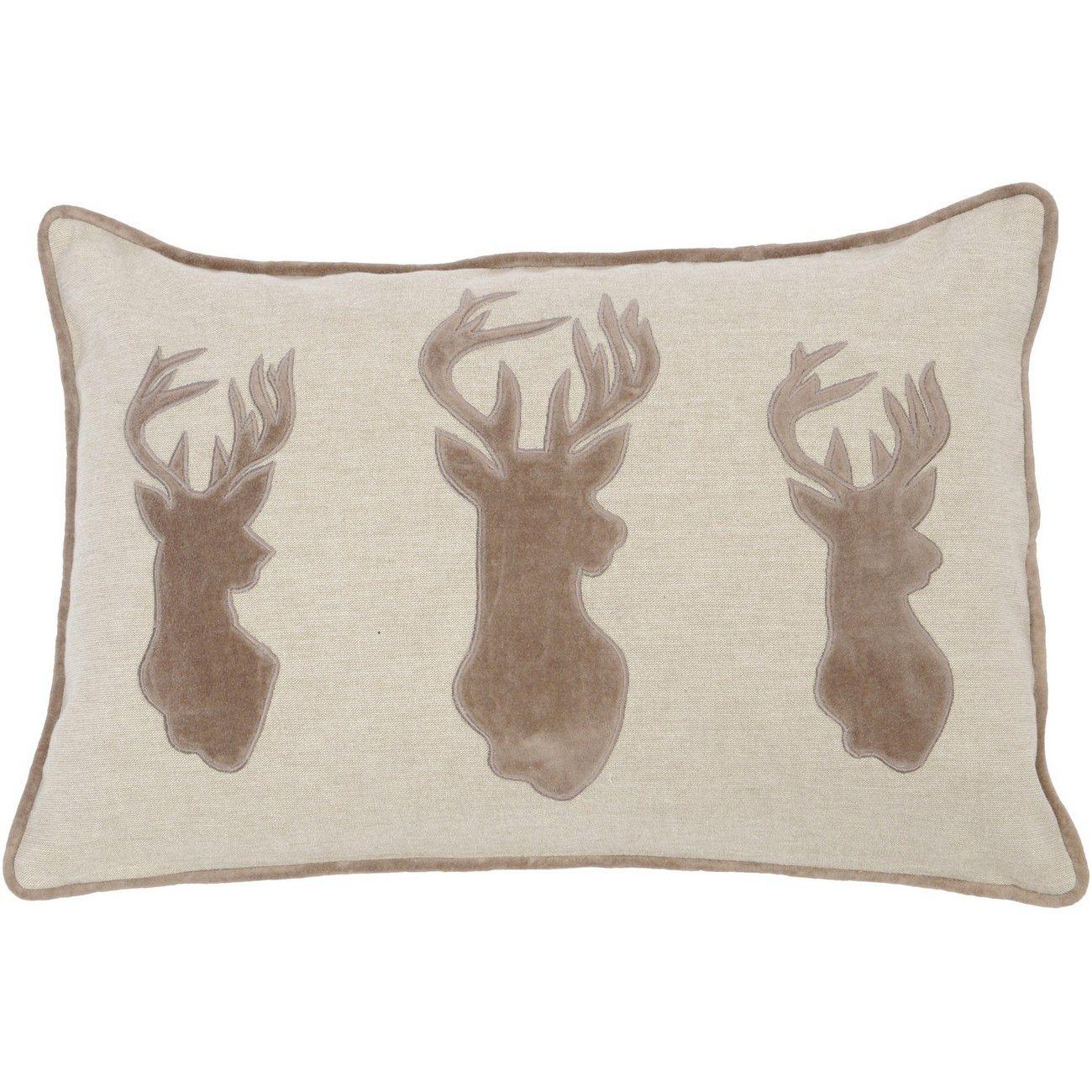 Brown Three Stag Cushion 50x30cm thumbnail