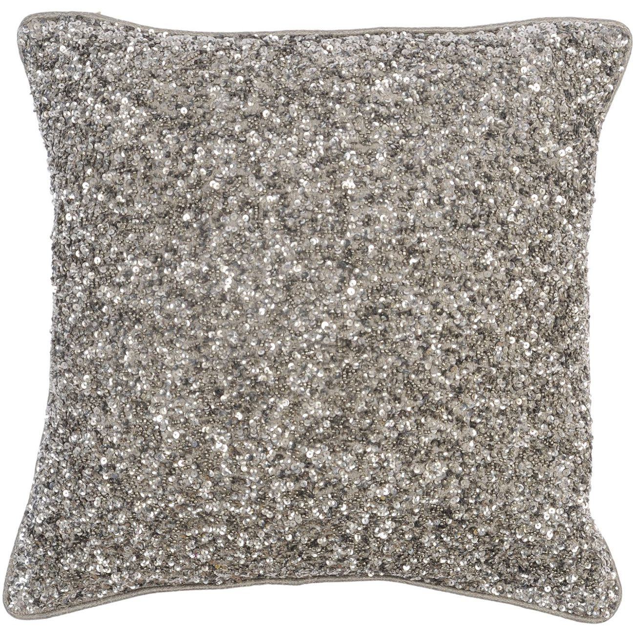 Gatsby Antique Silver Large Square Sequin Cushion 40x40cm thumbnail