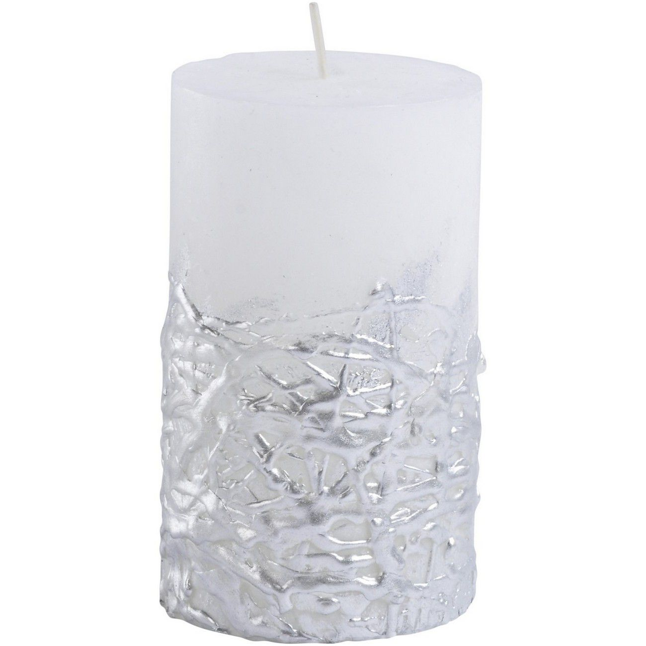 Libra White Candle With Textured Silver Base 7x12 thumbnail