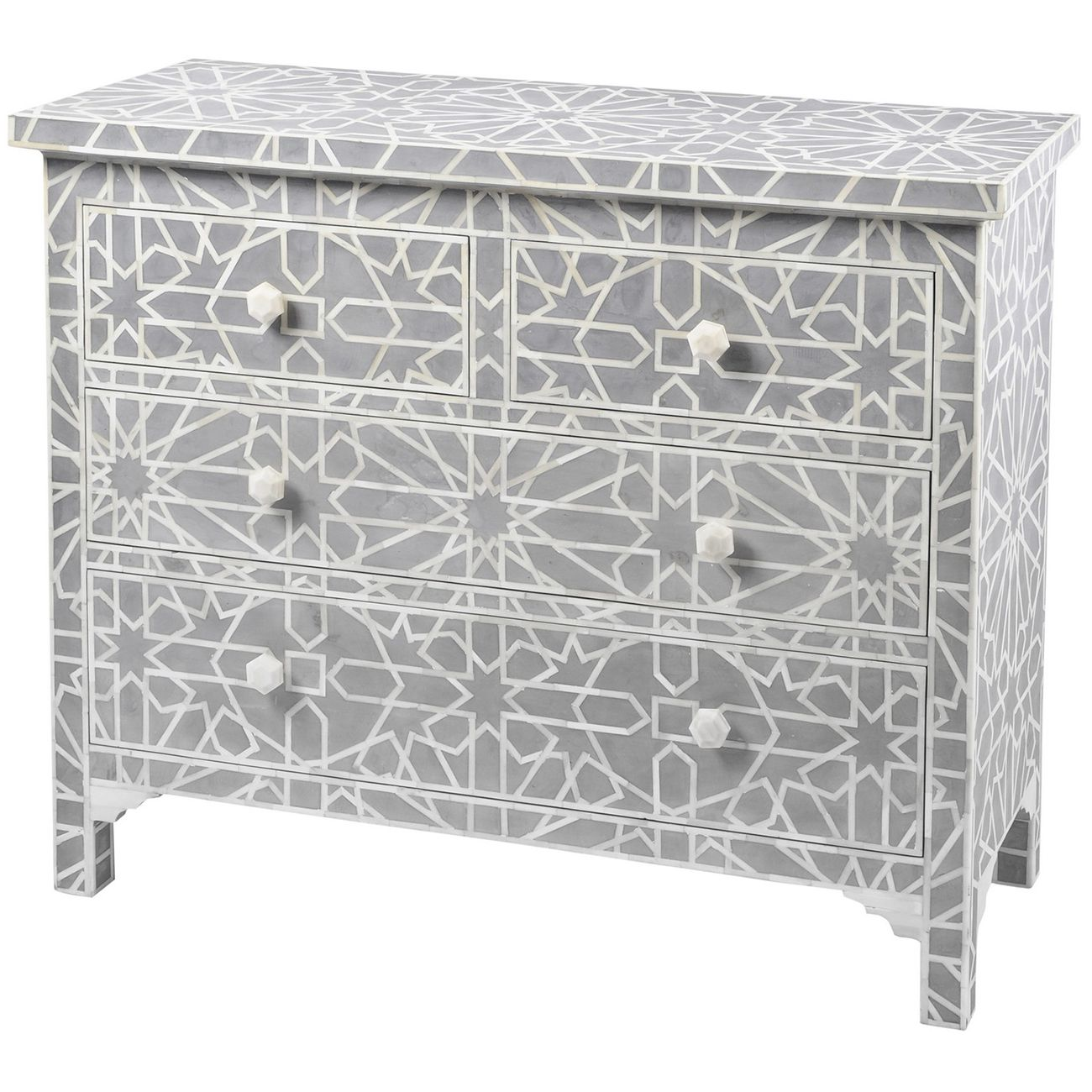 Floreat Mottled Blue Grey Bone Inlaid 4 Drawer Chest thumbnail