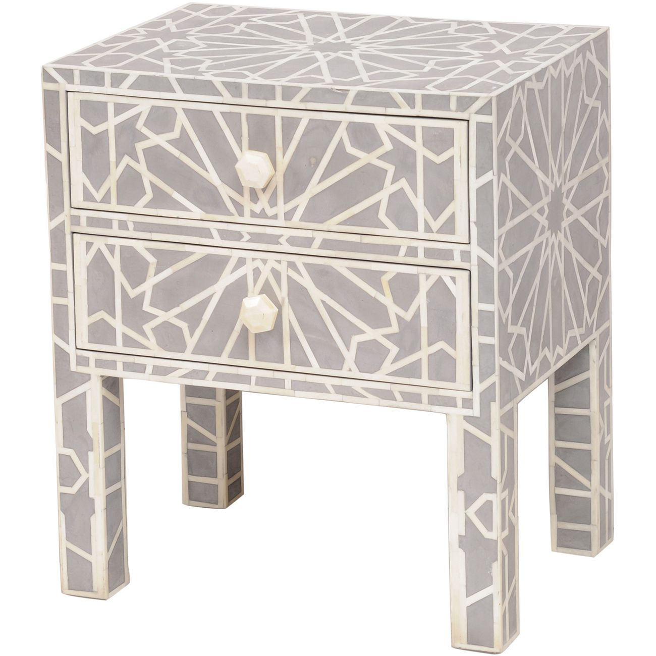 Floreat Mottled Blue Grey Bone Inlaid Two Drawer Bedside Table thumbnail