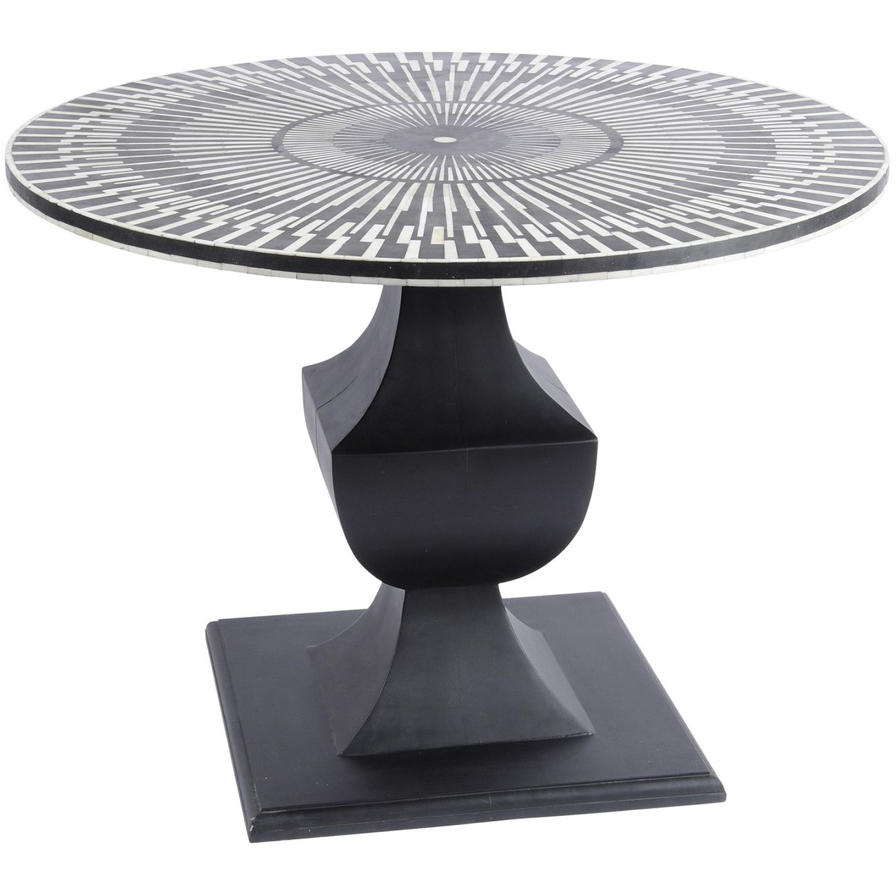 Humbug Bone Inlay Black And White Round Dining Table thumbnail