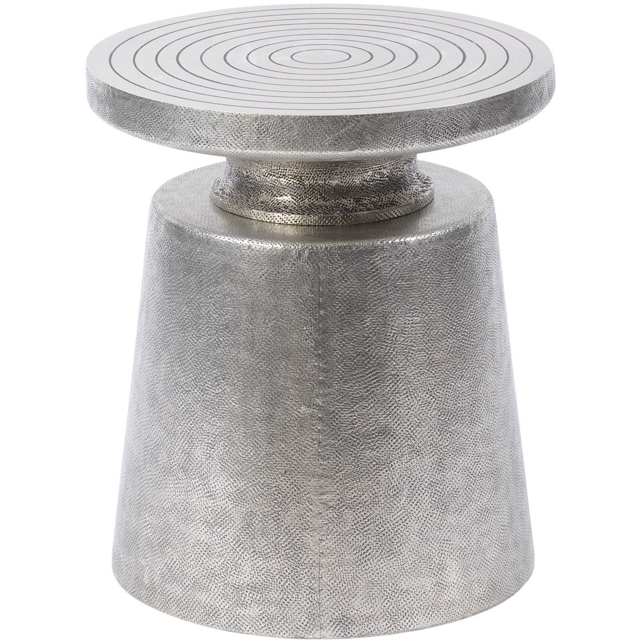 Astor Hand Embossed Silver Metal Martini Stool thumbnail