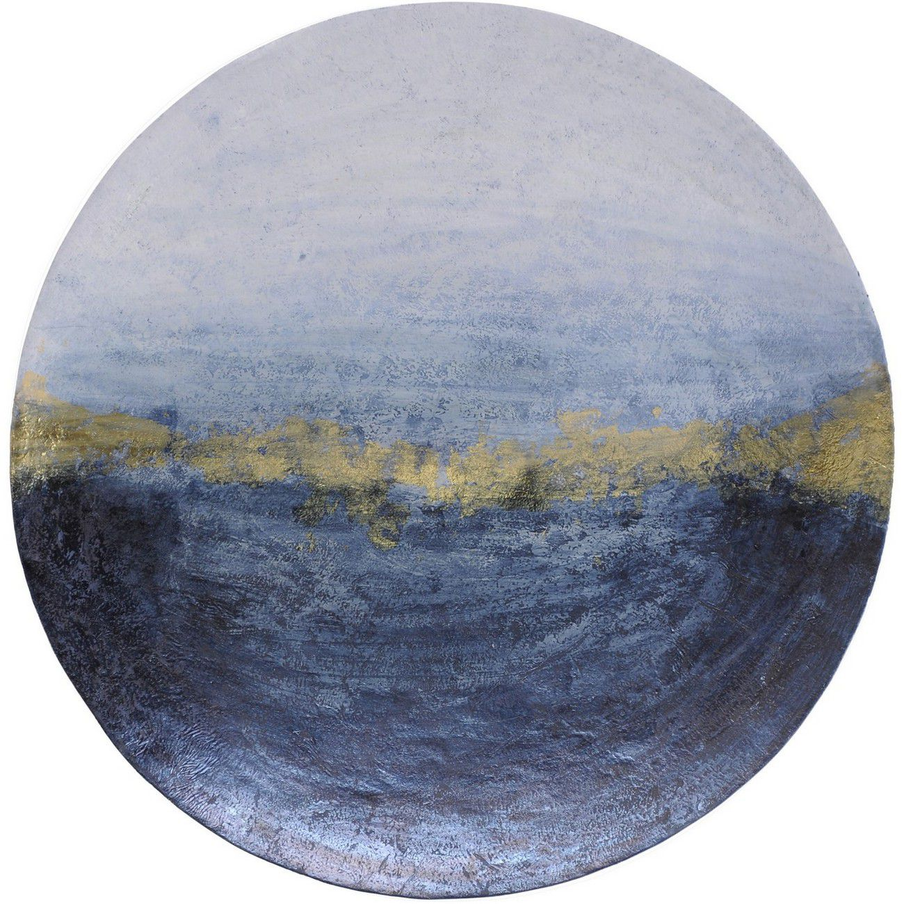 Blue And Gold Abstract Iron Wall Disc Large thumbnail