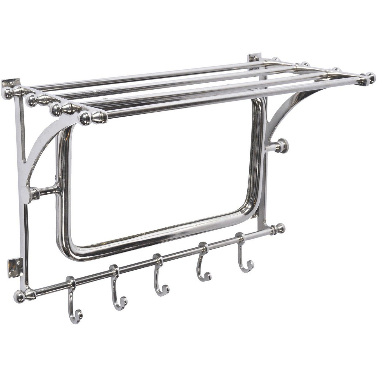 Newport Wall Rack With Hooks And Mirrors thumbnail