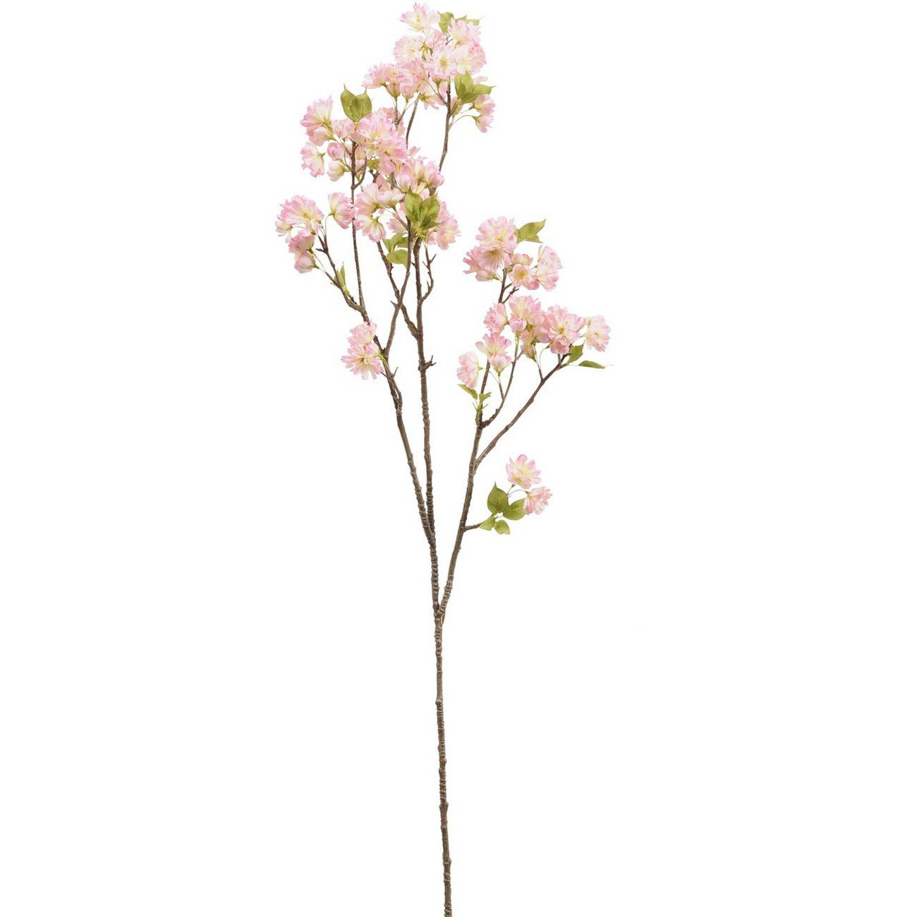 Faux Pink Cherry Blossom Spray With Leaves 128cm thumbnail