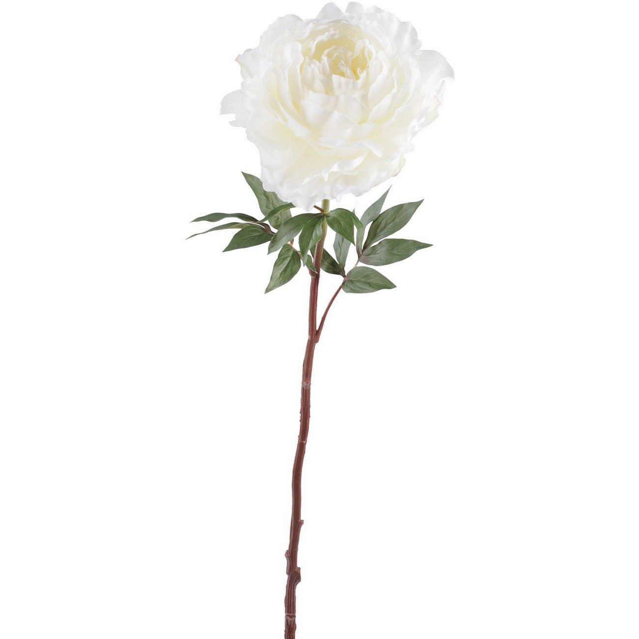 Faux White Open Bloom Peony Spray With Leaves 87cm thumbnail
