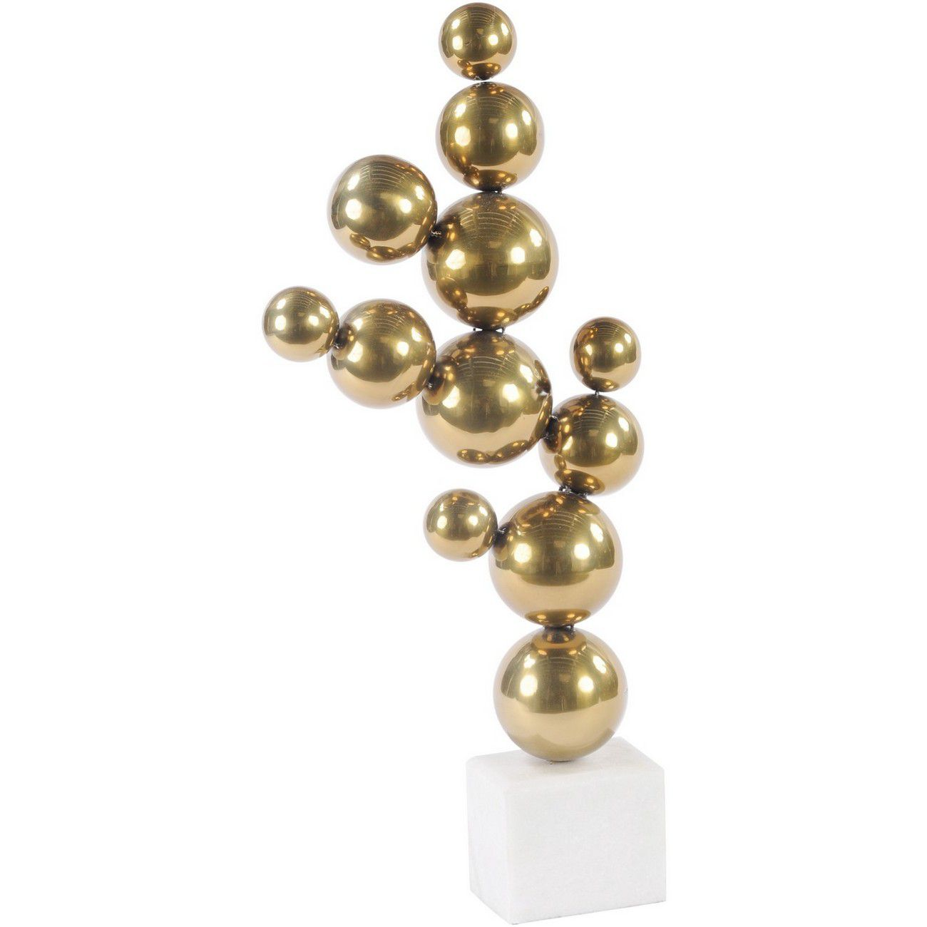 Brass Abstract Stacked Sphere Sculpture On Stone Base thumbnail