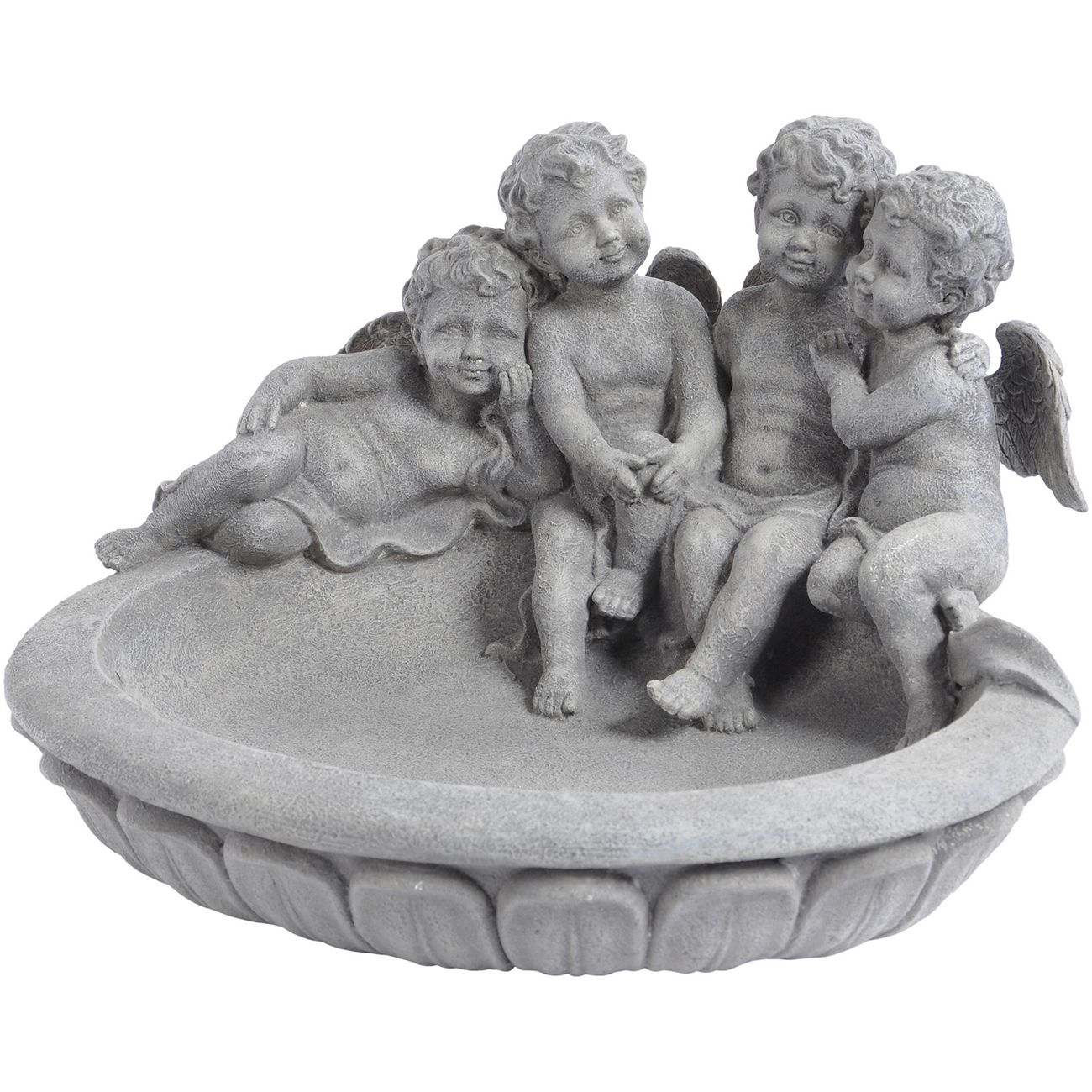 Resin Concrete Finish Small Cherub Birdbath thumbnail