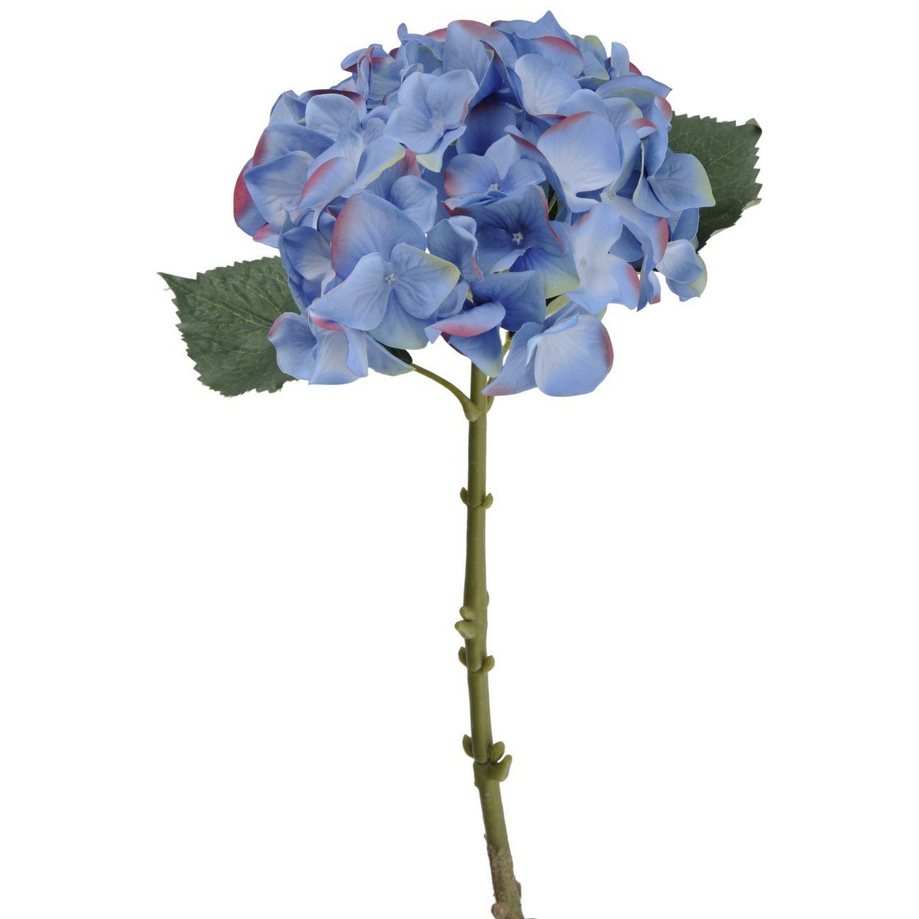 Faux Blue Hydrangea With Leaves 47cm thumbnail
